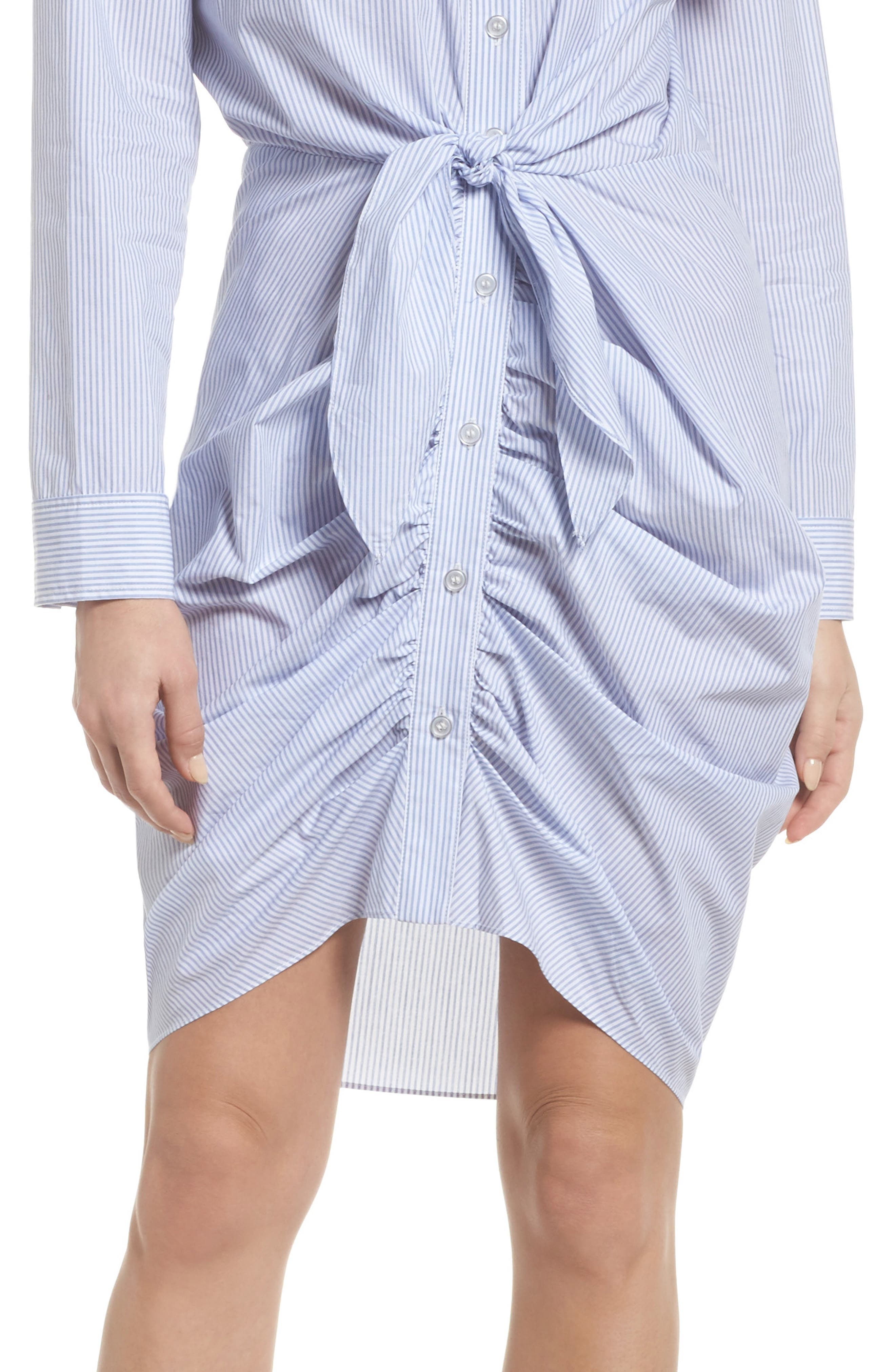 Ruched Tie Waist Shirtdress,                             Alternate thumbnail 4, color,                             450