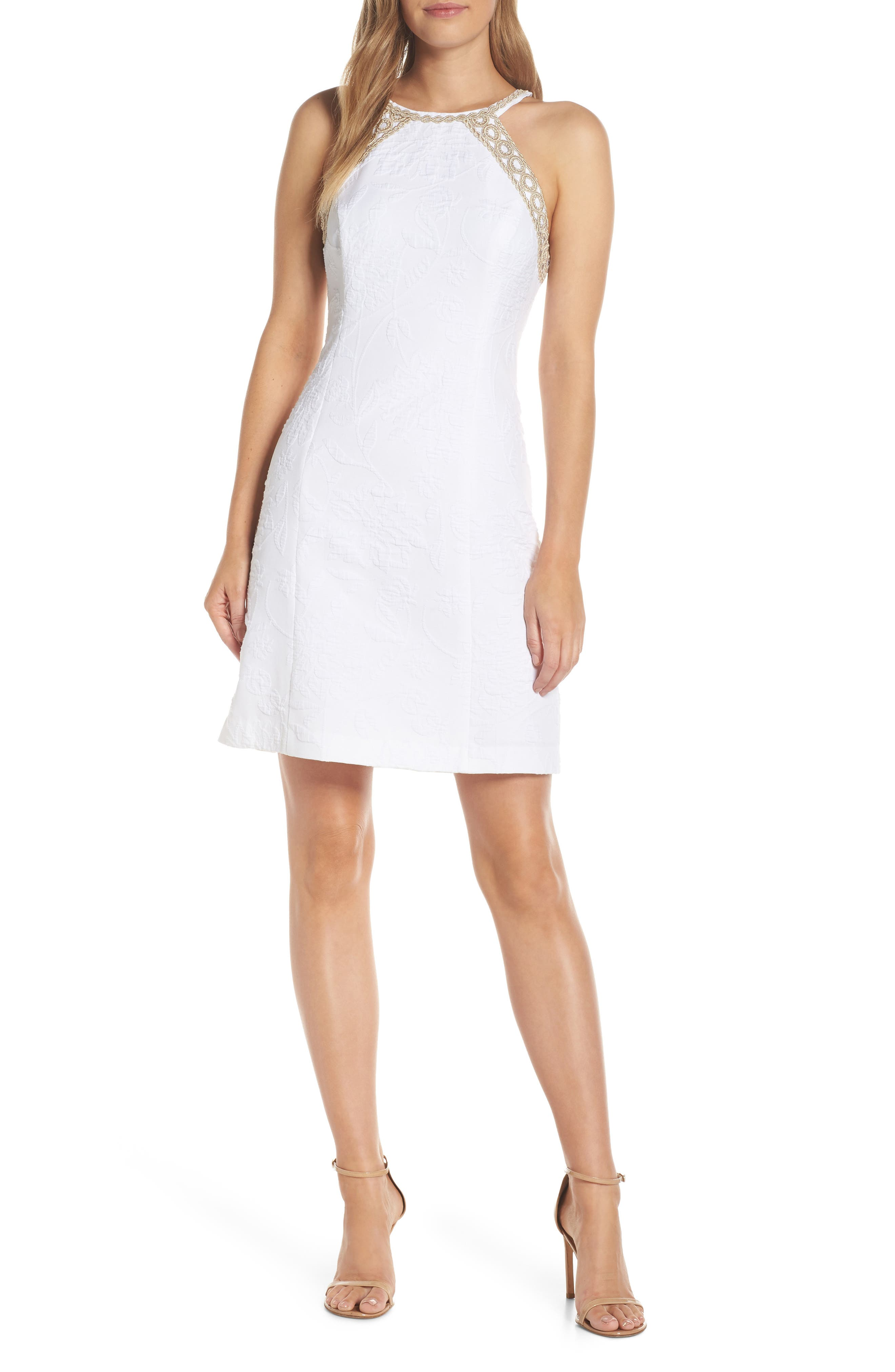 Pearl Stretch Shift Dress,                             Main thumbnail 1, color,                             RESORT WHITE CALIENTE PU
