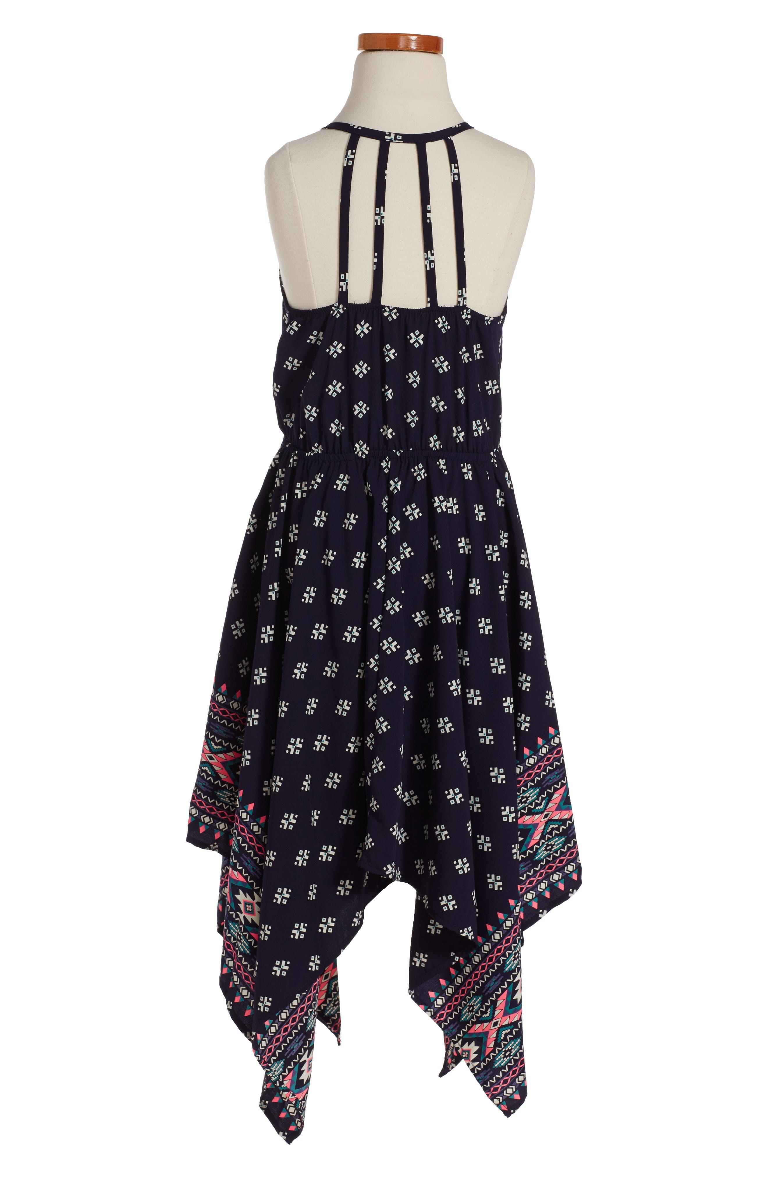 Print Handkerchief Dress,                             Alternate thumbnail 3, color,                             NAVY/ PINK