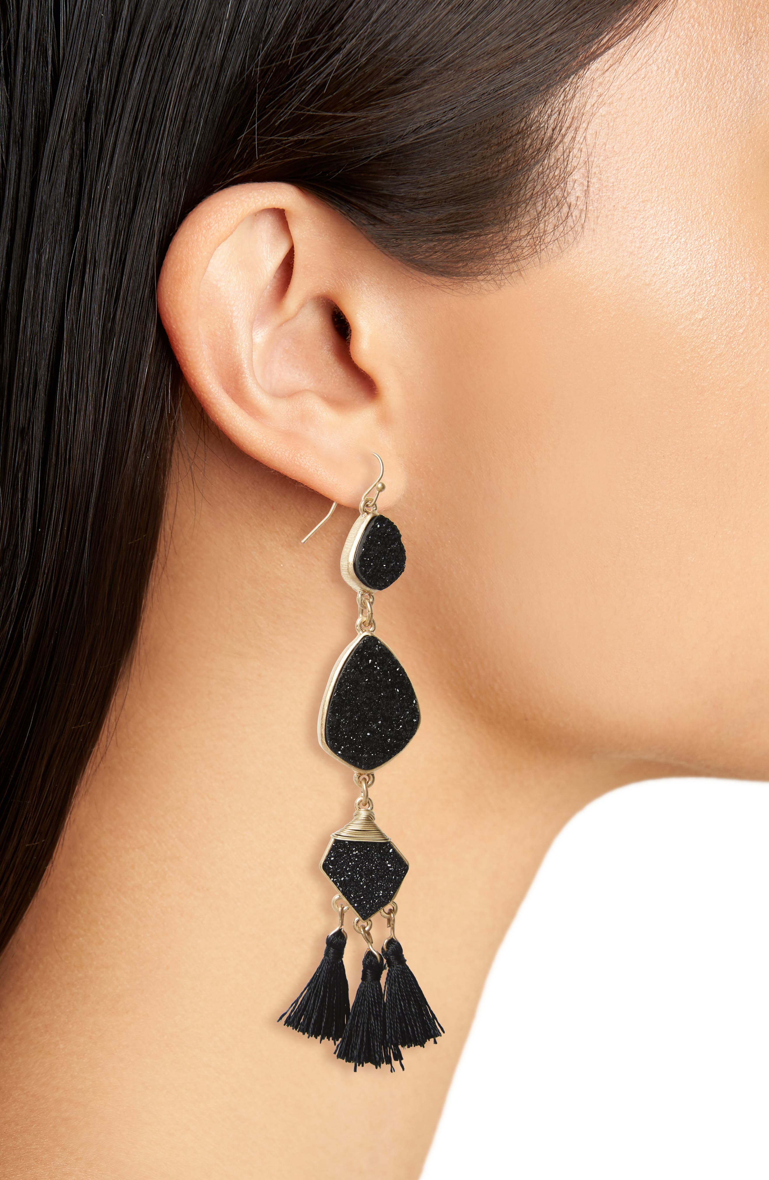 Drusy Tassel Earrings,                             Alternate thumbnail 5, color,