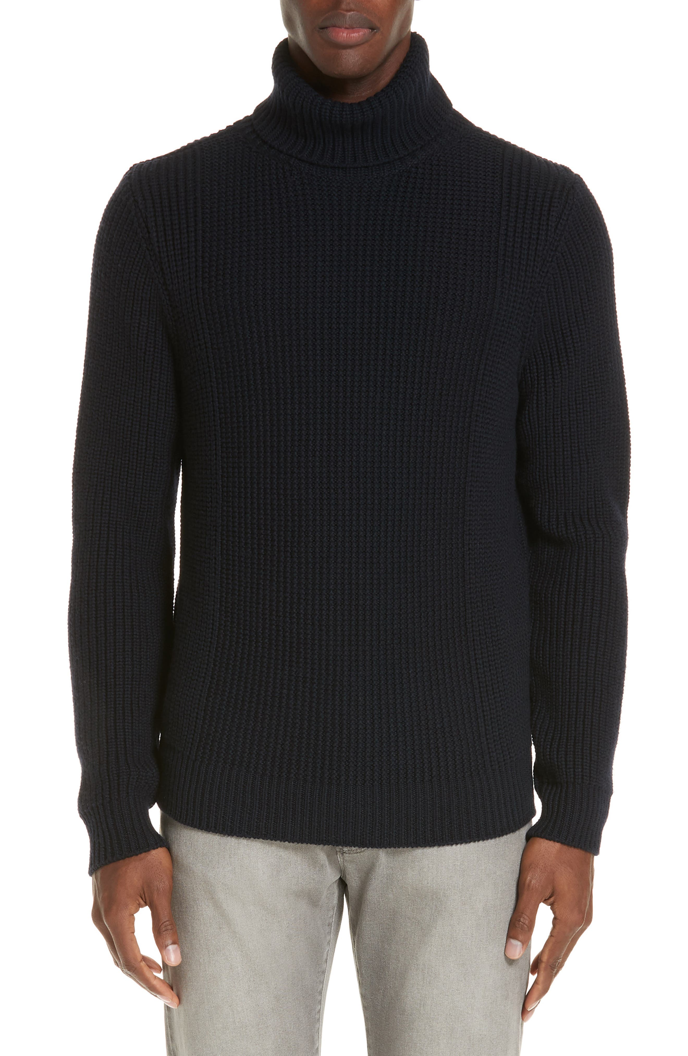 EIDOS Ribbed Merino Wool Turtleneck Sweater in Navy
