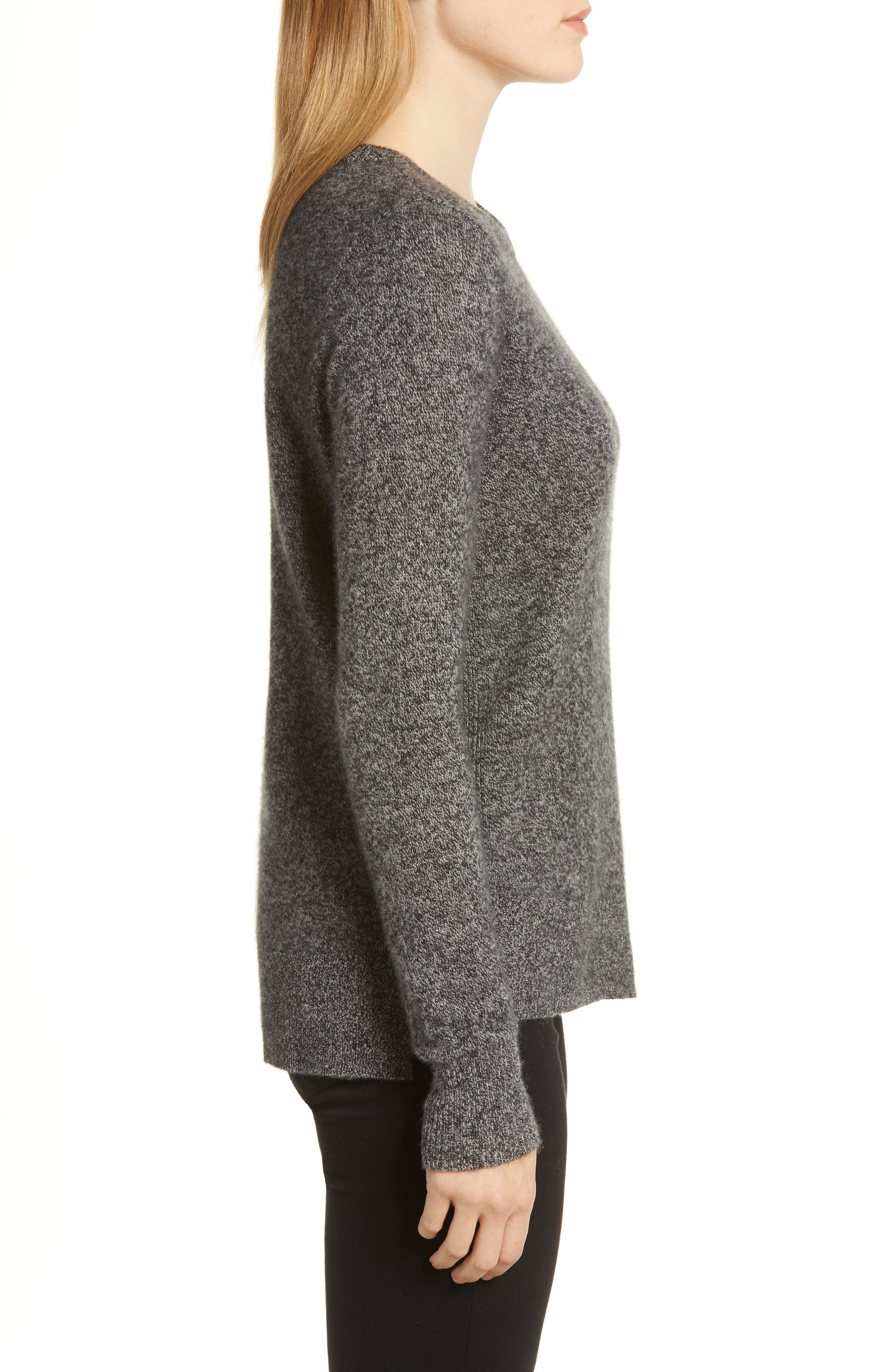 Crewneck Cashmere Sweater,                             Alternate thumbnail 3, color,                             BLACK- GREY MARL