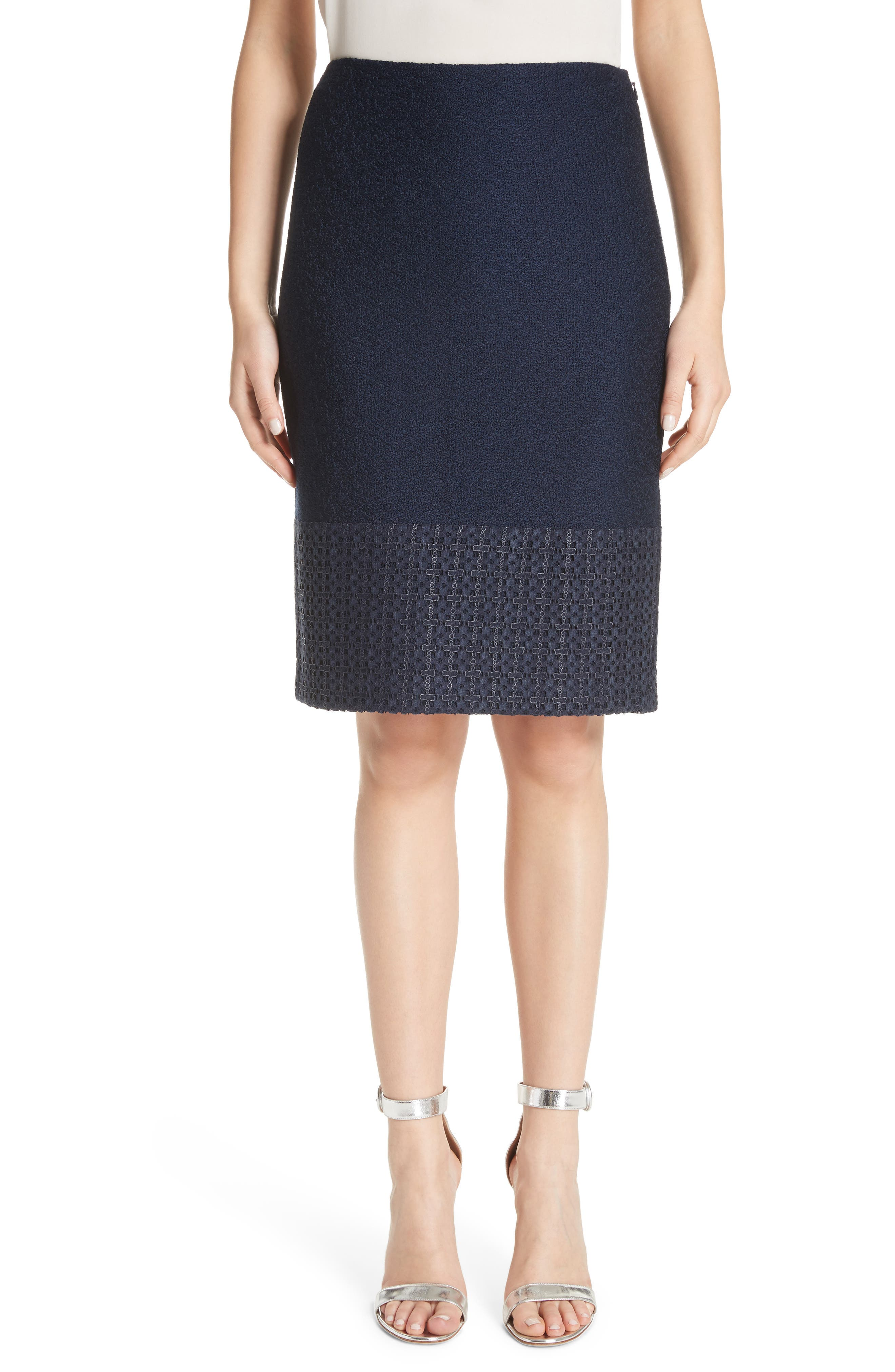 Caris Geo Lace Trim Knit Pencil Skirt in Navy