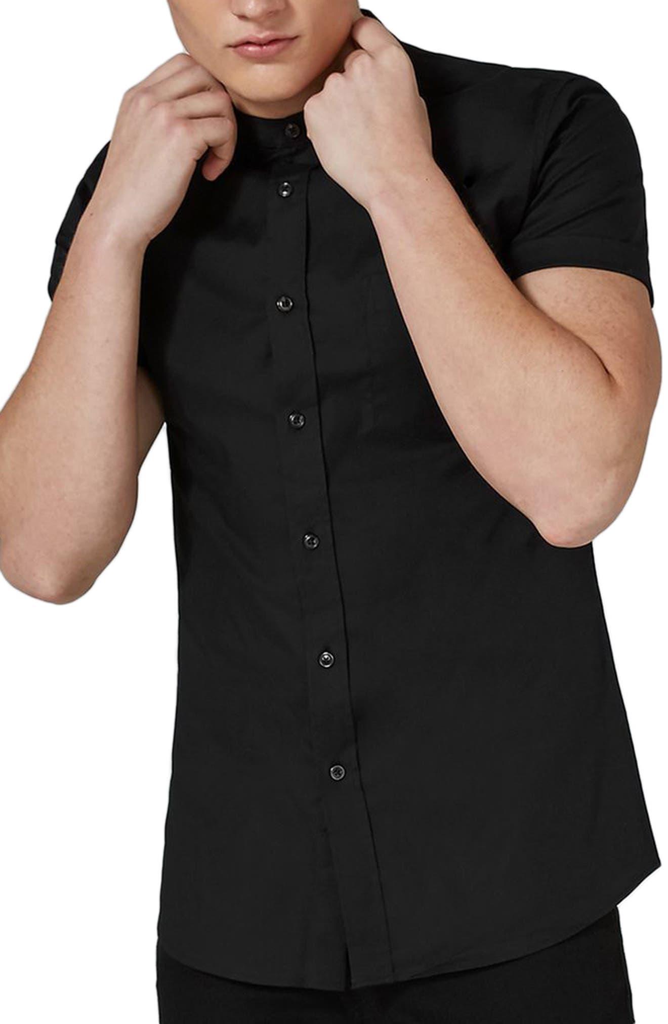 Stand Collar Oxford Shirt,                             Main thumbnail 1, color,                             001