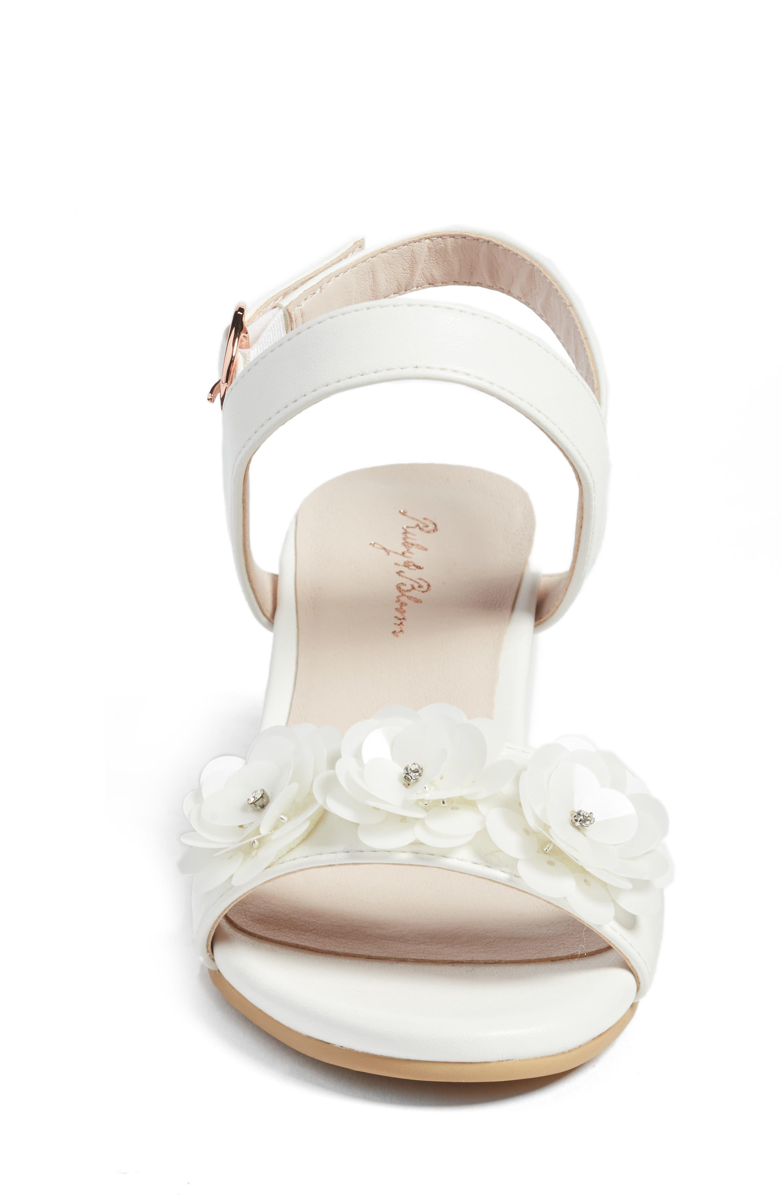 Dina Flowered Sandal,                             Alternate thumbnail 4, color,                             WHITE FAUX LEATHER