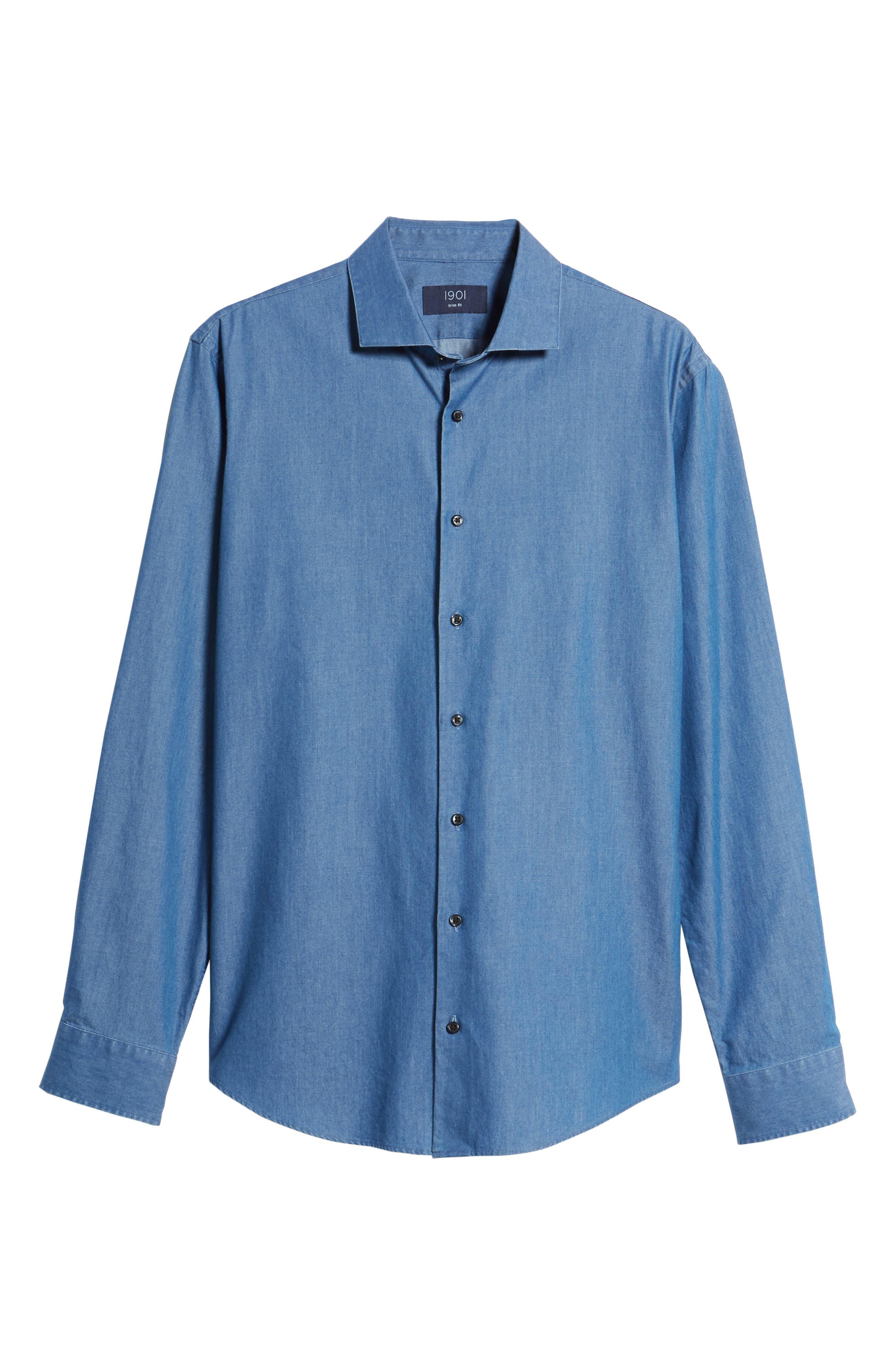 Trim Fit Solid Denim Dress Shirt,                             Alternate thumbnail 5, color,                             BLUE DENIM