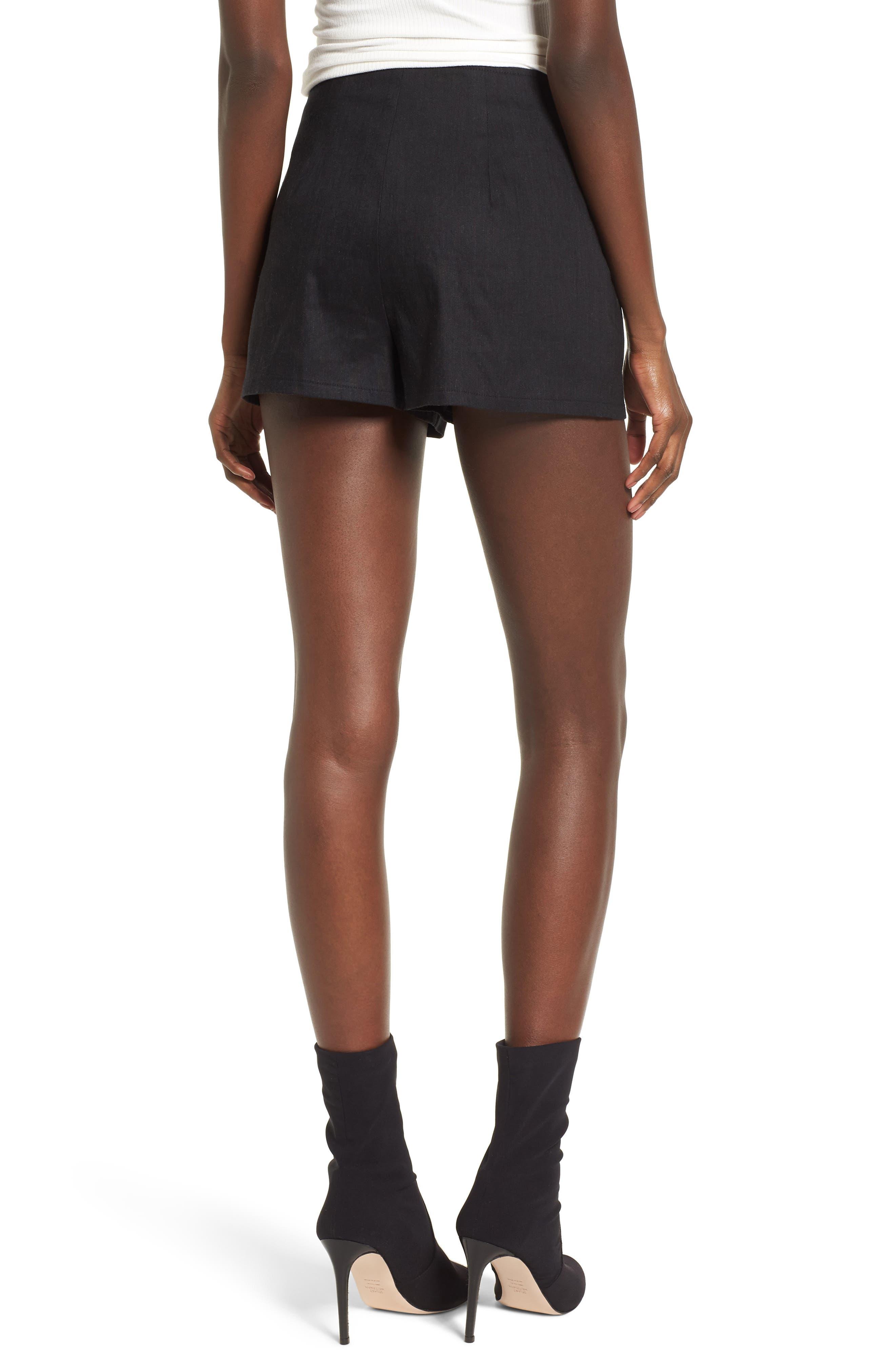 High Waist Linen Blend Shorts,                             Alternate thumbnail 2, color,                             001