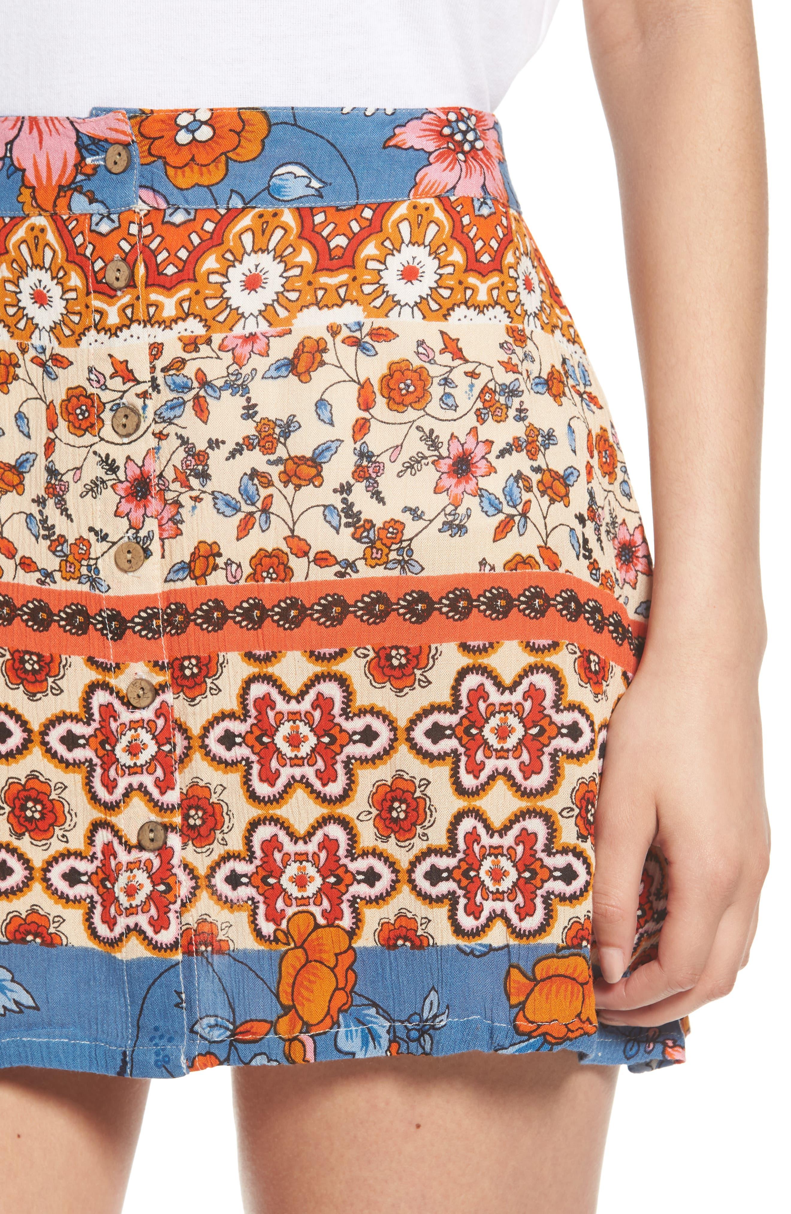 Sun Daze Mixed Print Skirt,                             Alternate thumbnail 4, color,