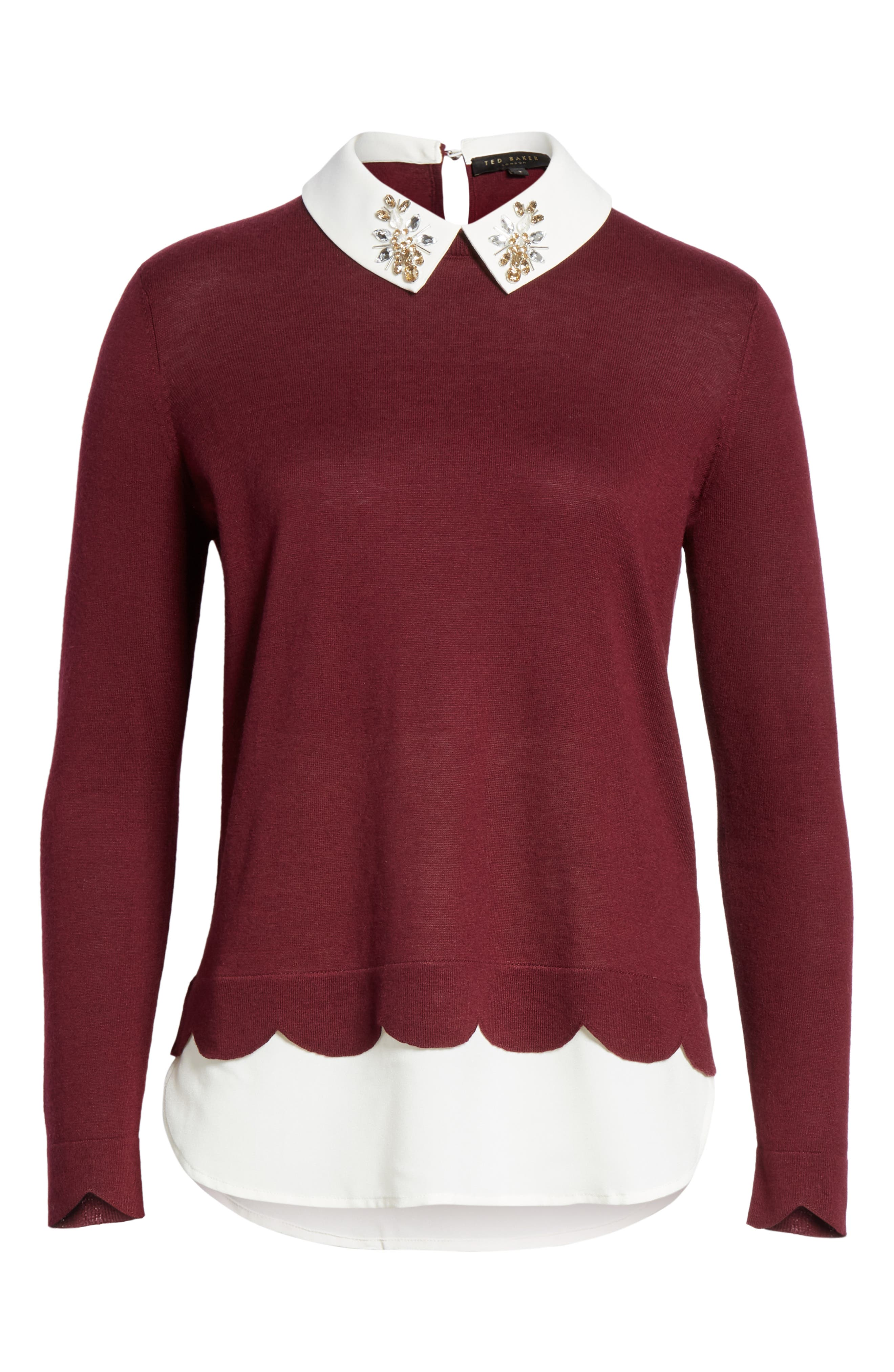 Suzaine Layered Sweater,                             Alternate thumbnail 6, color,                             MAROON