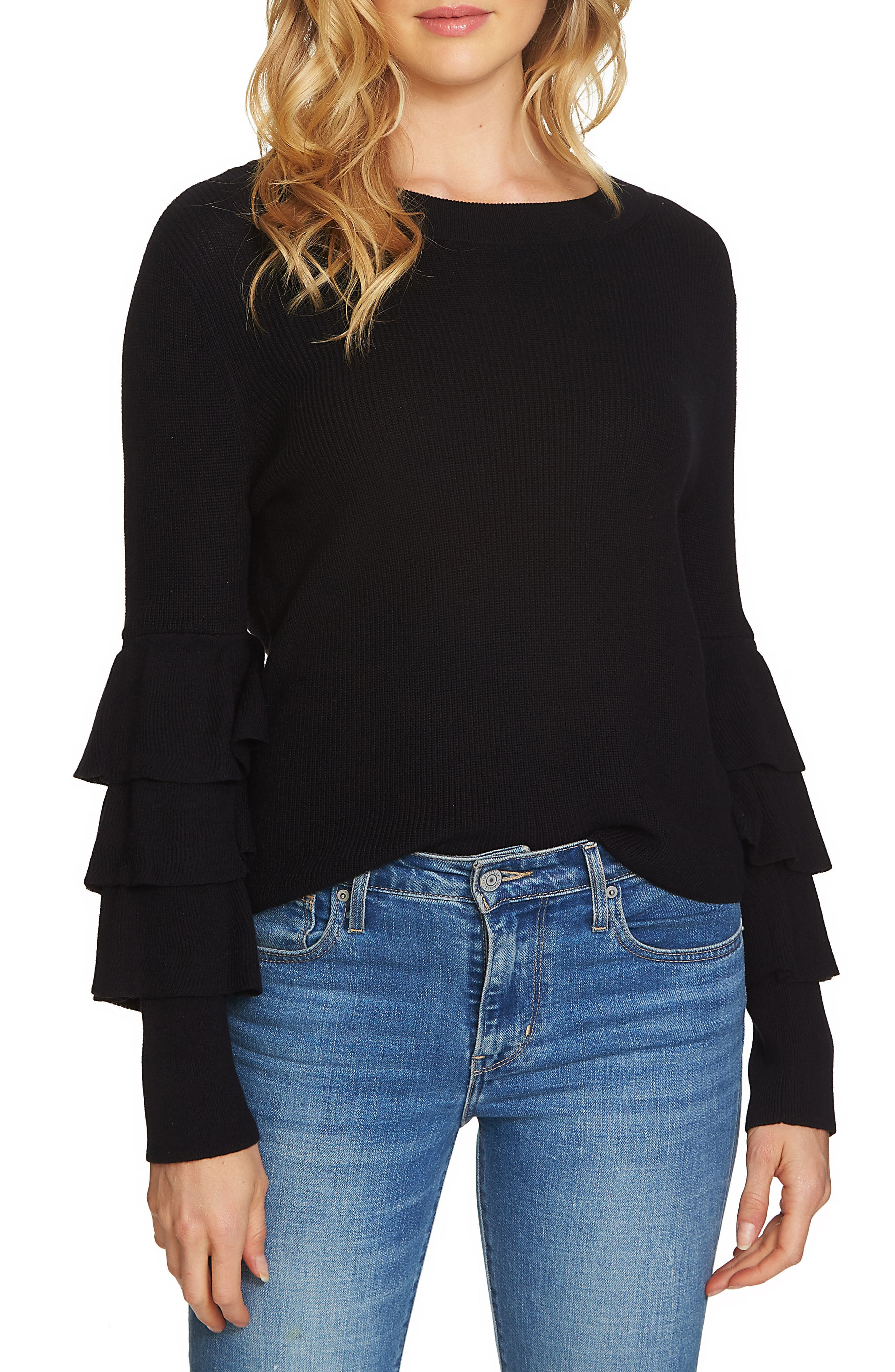 Tiered Ruffle Sleeve Sweater,                         Main,                         color, 010