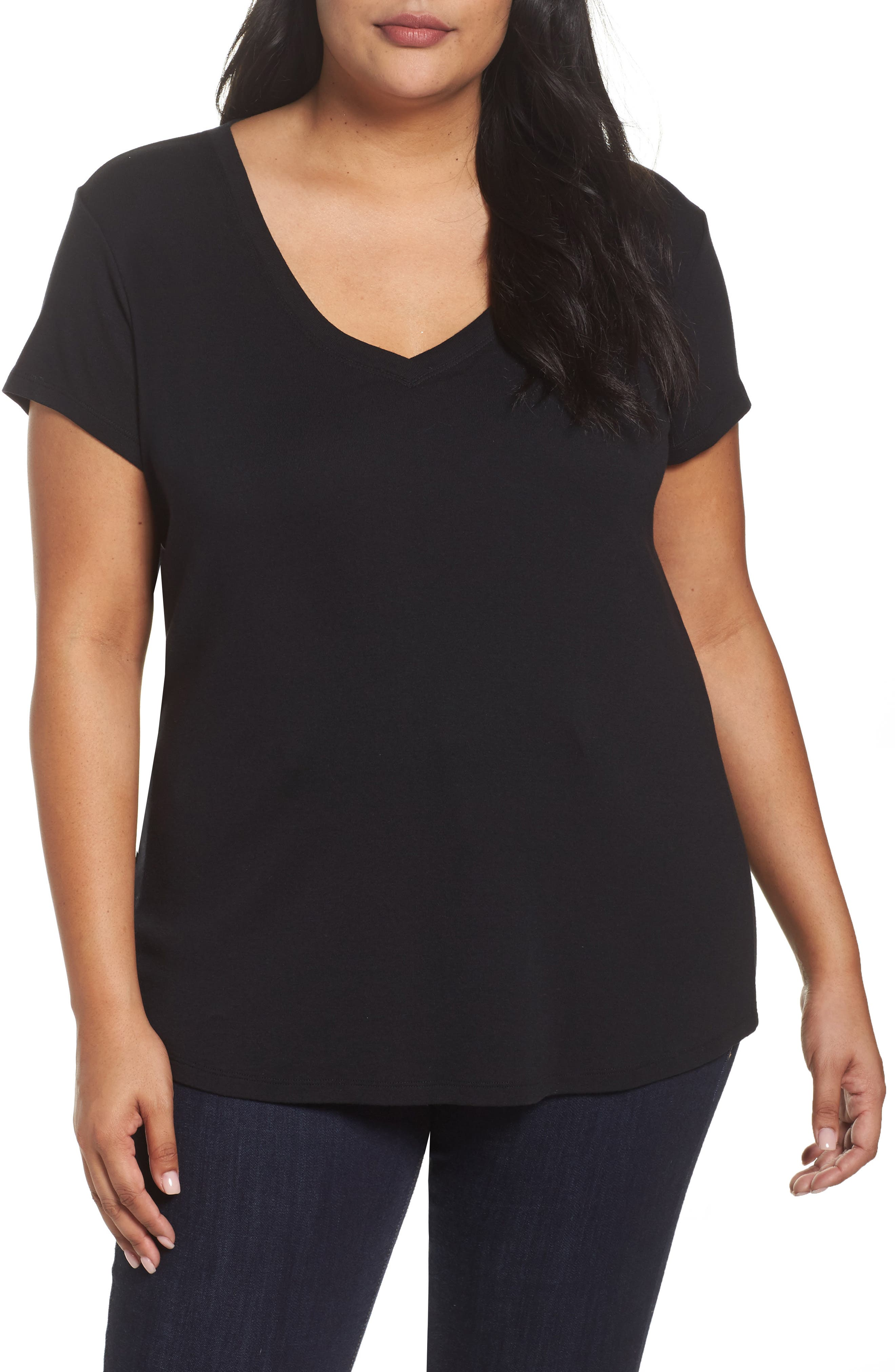 V-Neck Tee,                         Main,                         color, 001
