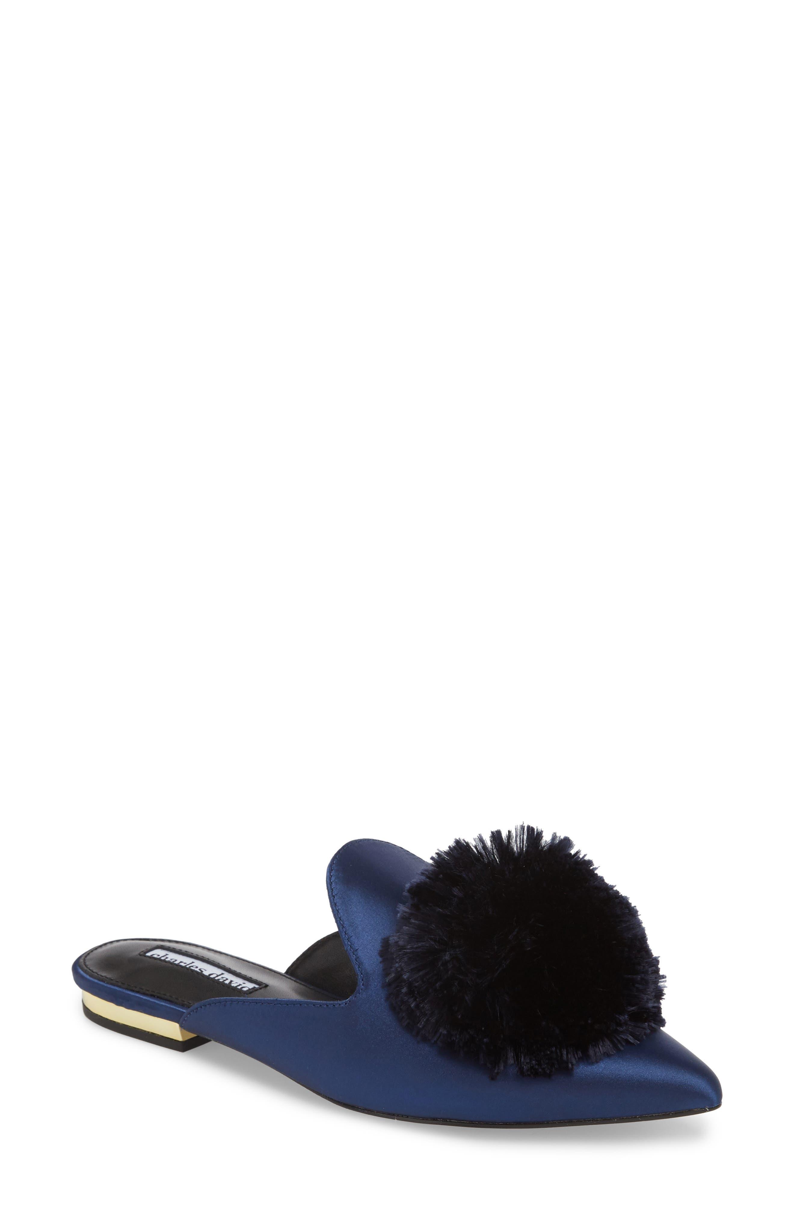 Charles David Wella Pompom Loafer Mule- Blue