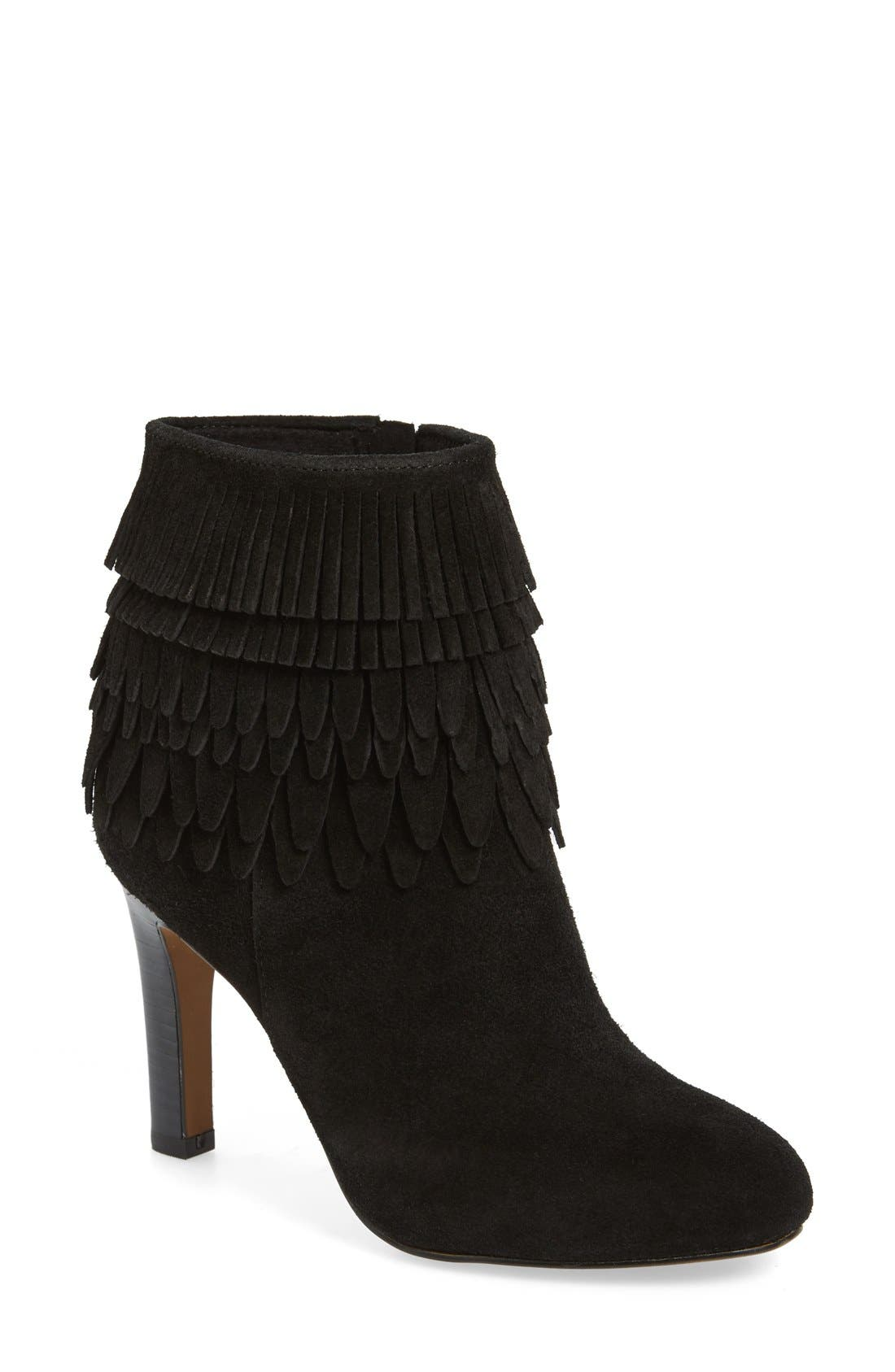 'Layton' Fringe Bootie,                         Main,                         color, 001