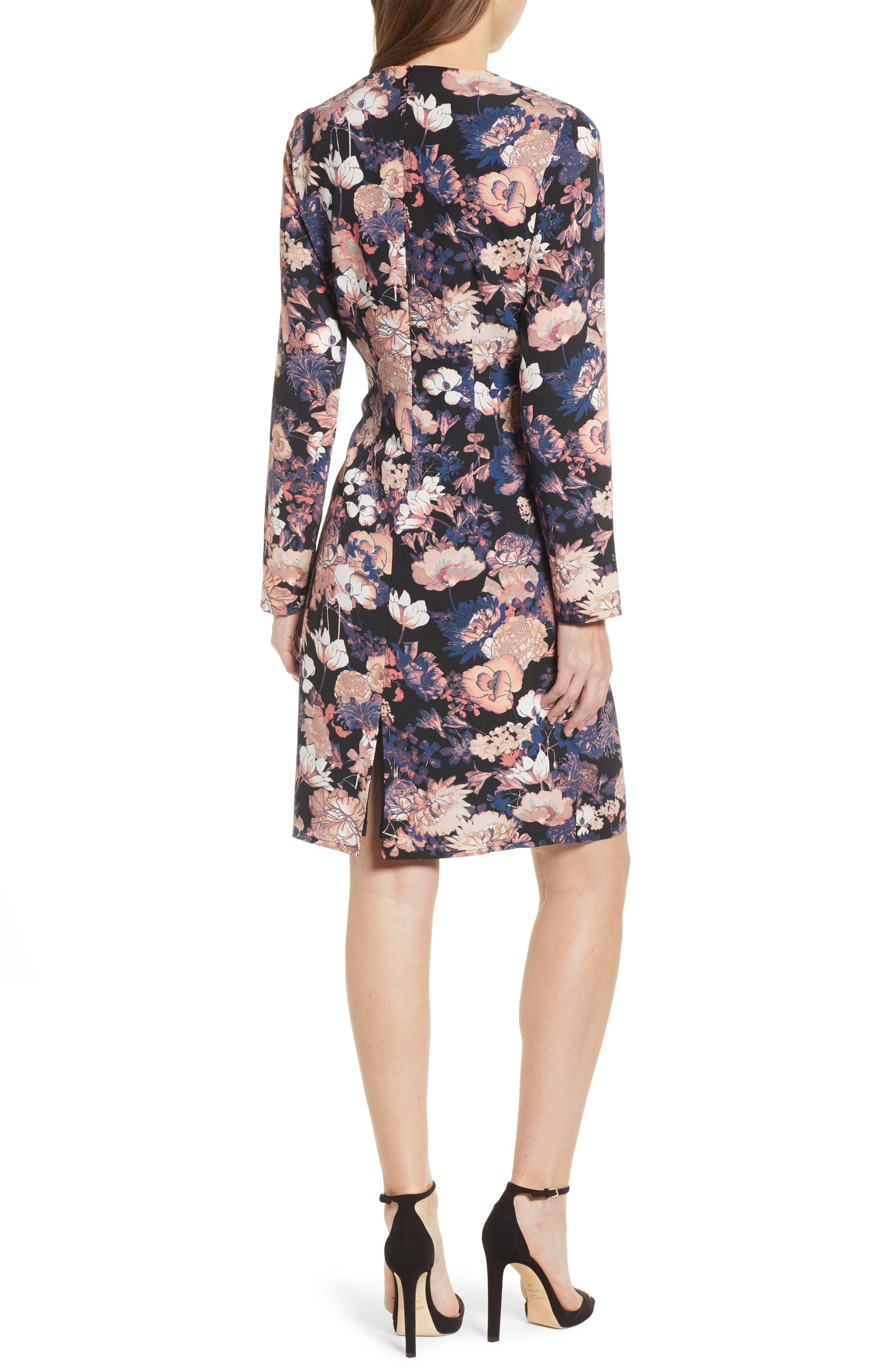 VERO MODA,                             Marlene Floral Drape Dress,                             Alternate thumbnail 2, color,                             BLACK PRINT