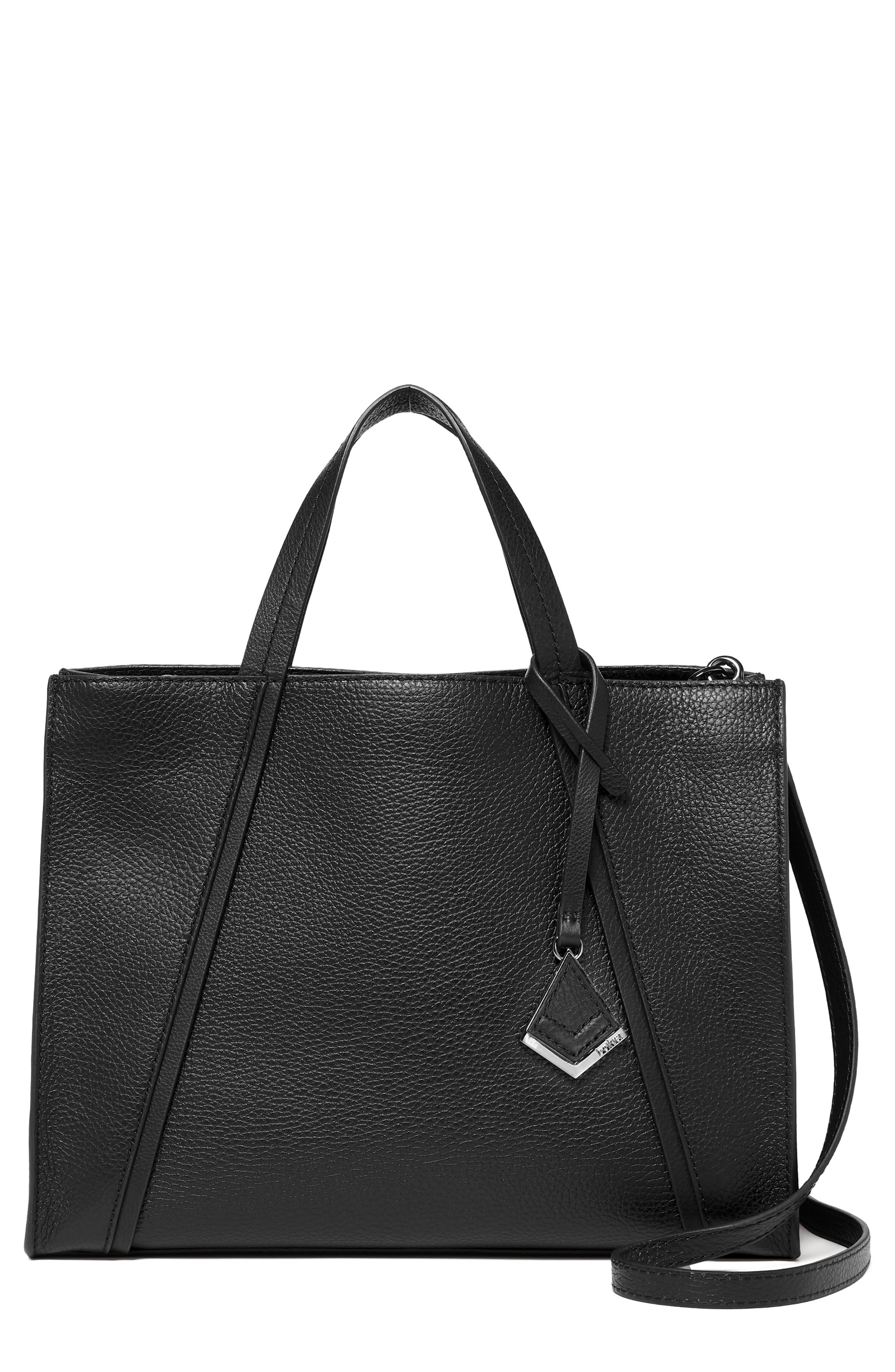 Trinity Leather Satchel,                         Main,                         color, BLACK