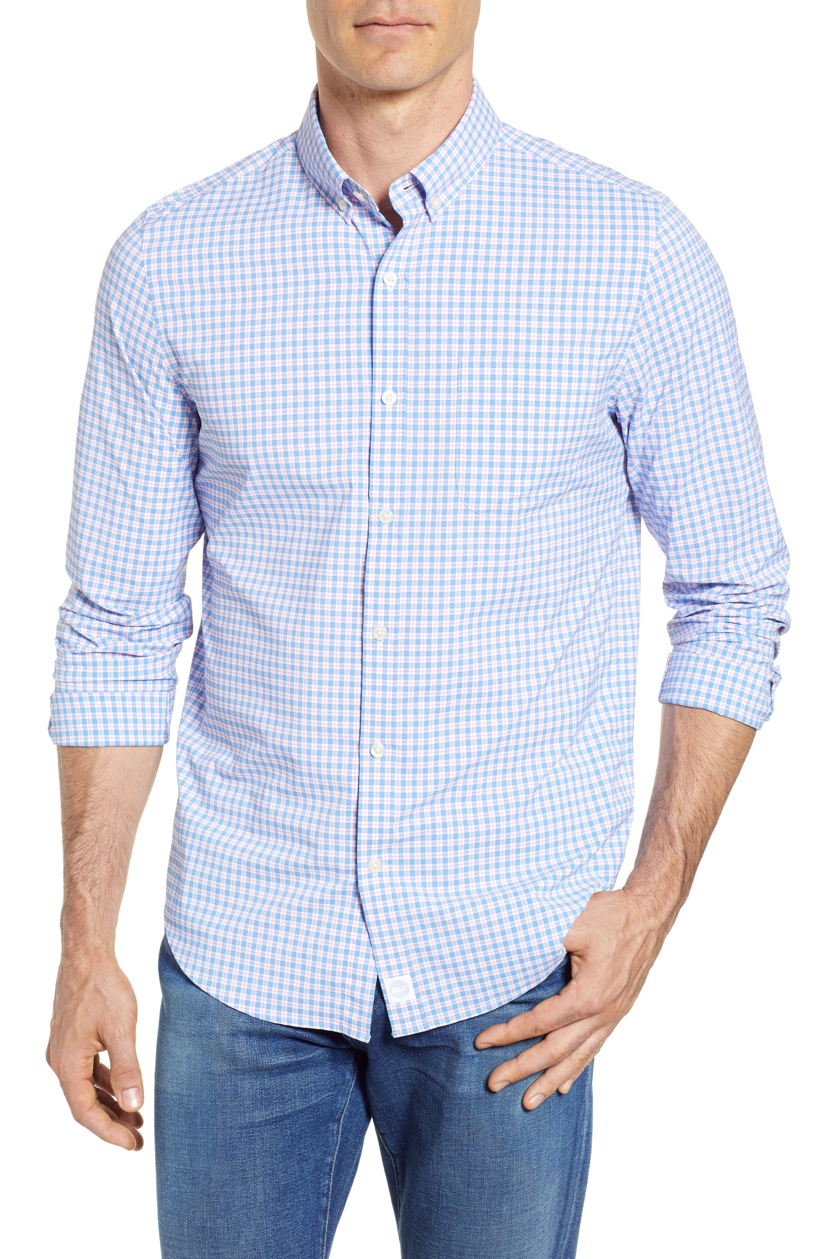Oyster Pond Slim Fit Plaid Sport Shirt,                             Main thumbnail 1, color,                             OCEAN BREEZE