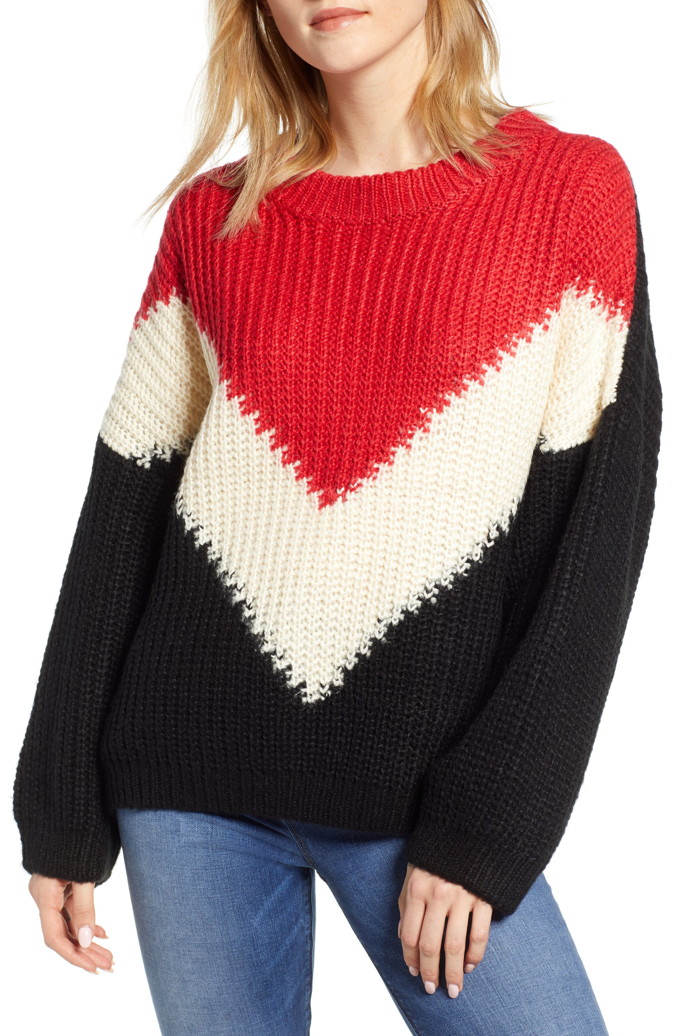 BISHOP + YOUNG The Anthem Colorblock Shaker Sweater, Main, color, BLACK
