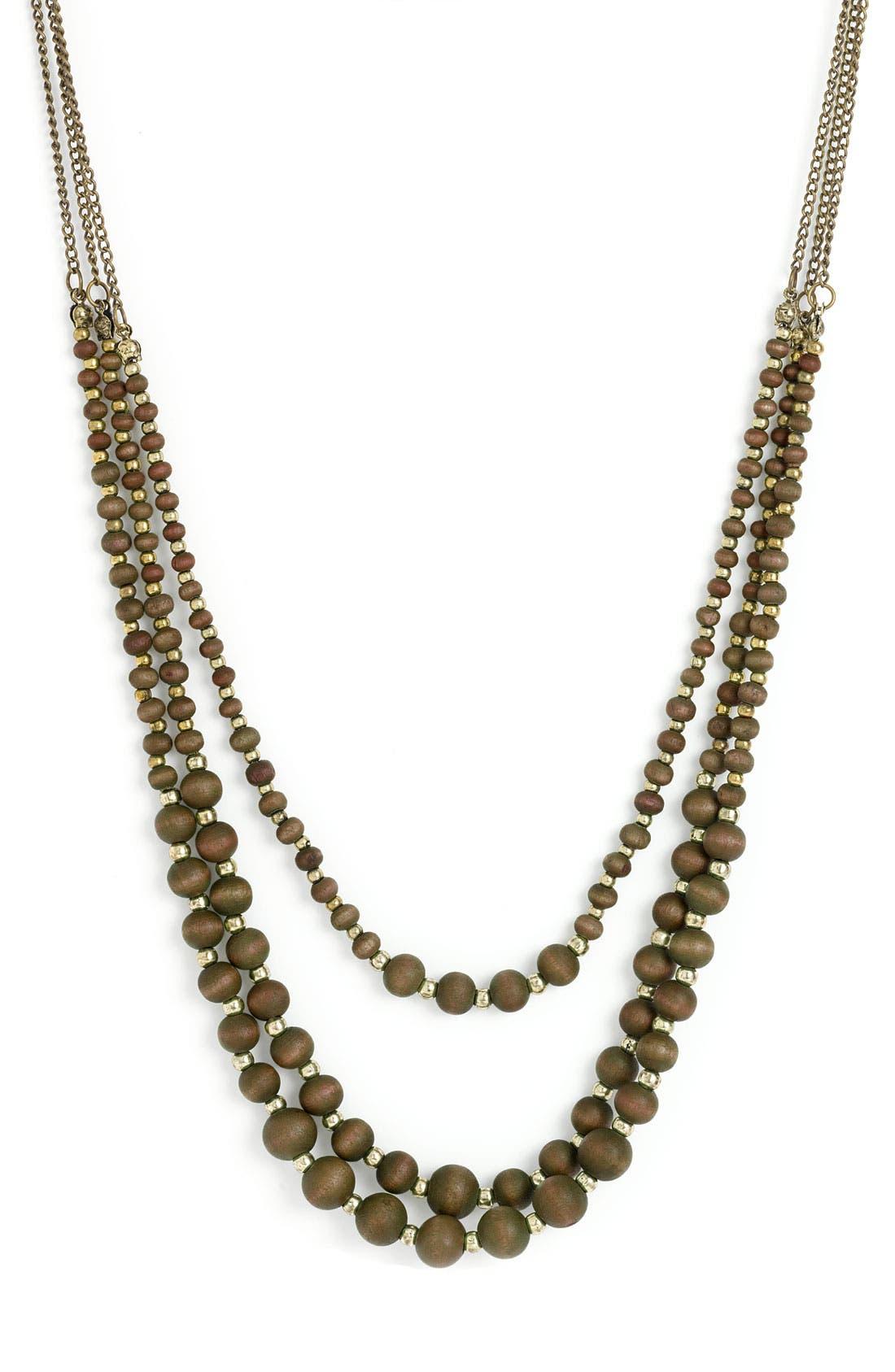 Wood Bead Layered Necklace,                             Main thumbnail 1, color,                             201