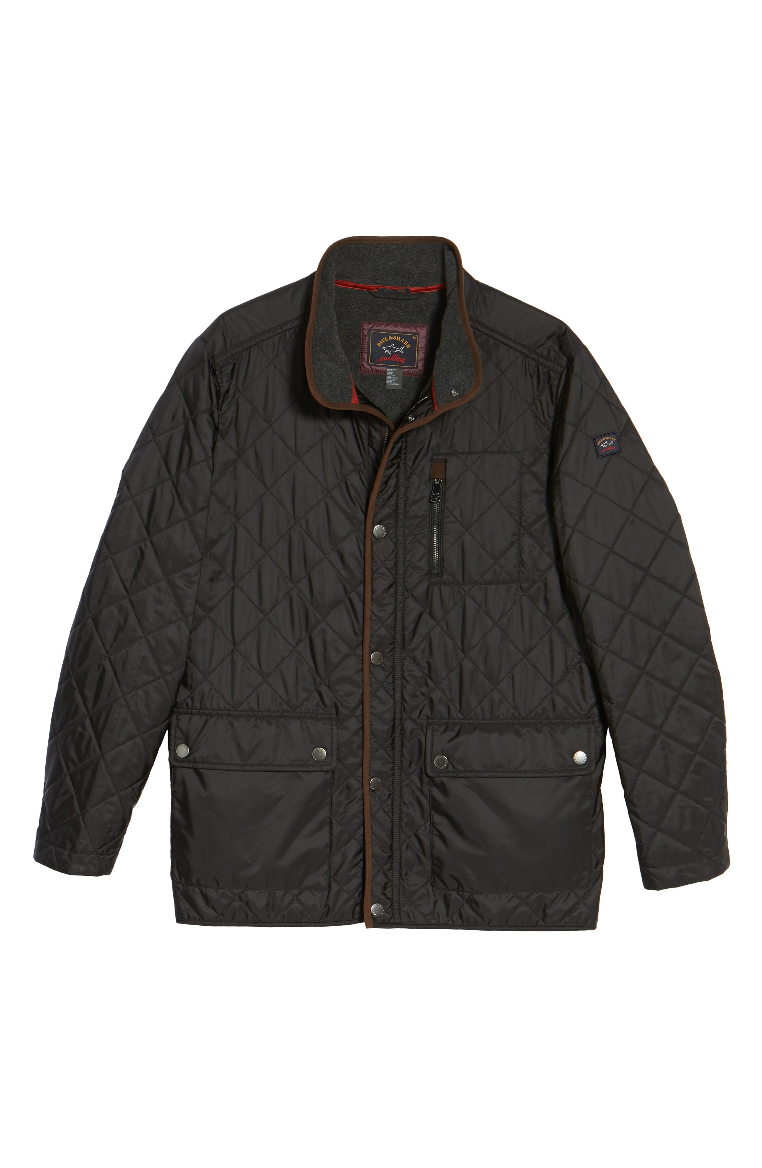 Paul&Shark Fleece Lined Quilted Jacket,                             Alternate thumbnail 5, color,                             001