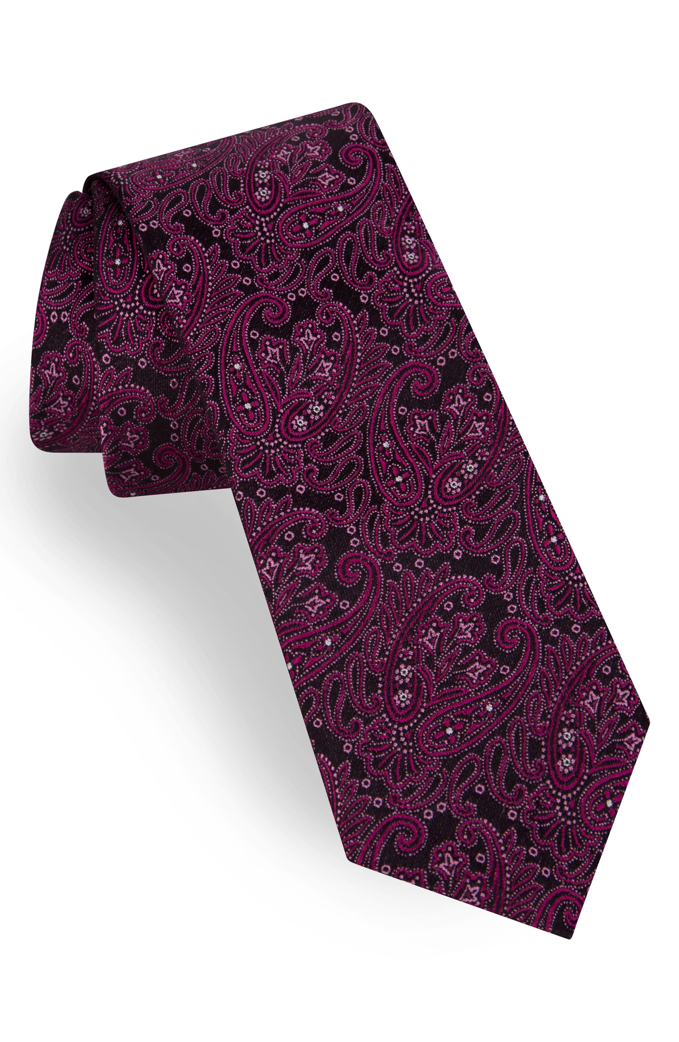 Paisley Silk Tie,                             Main thumbnail 1, color,                             FUCHSIA