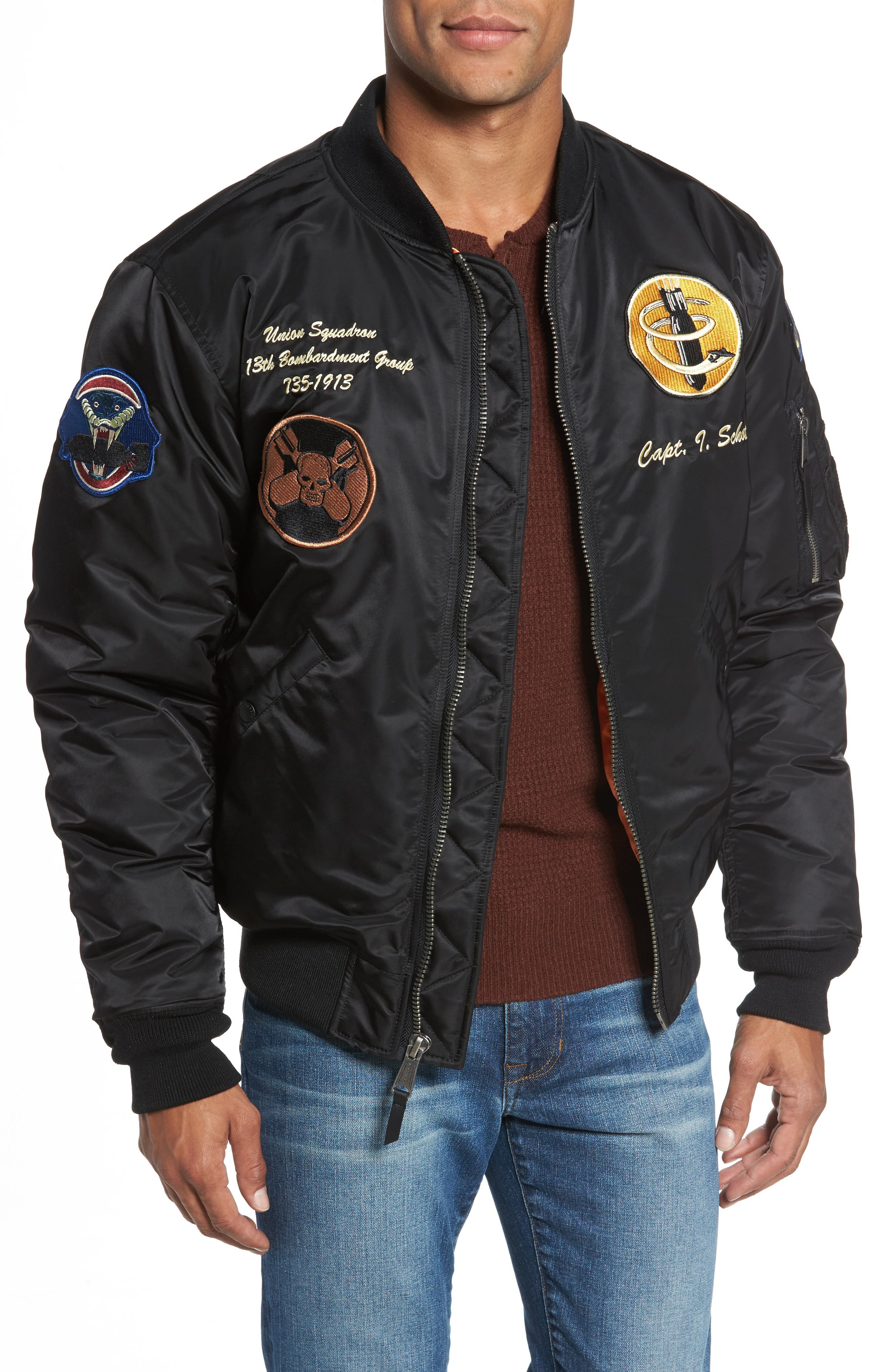 Highly Decorated Embroidered Flight Jacket,                             Main thumbnail 1, color,                             001