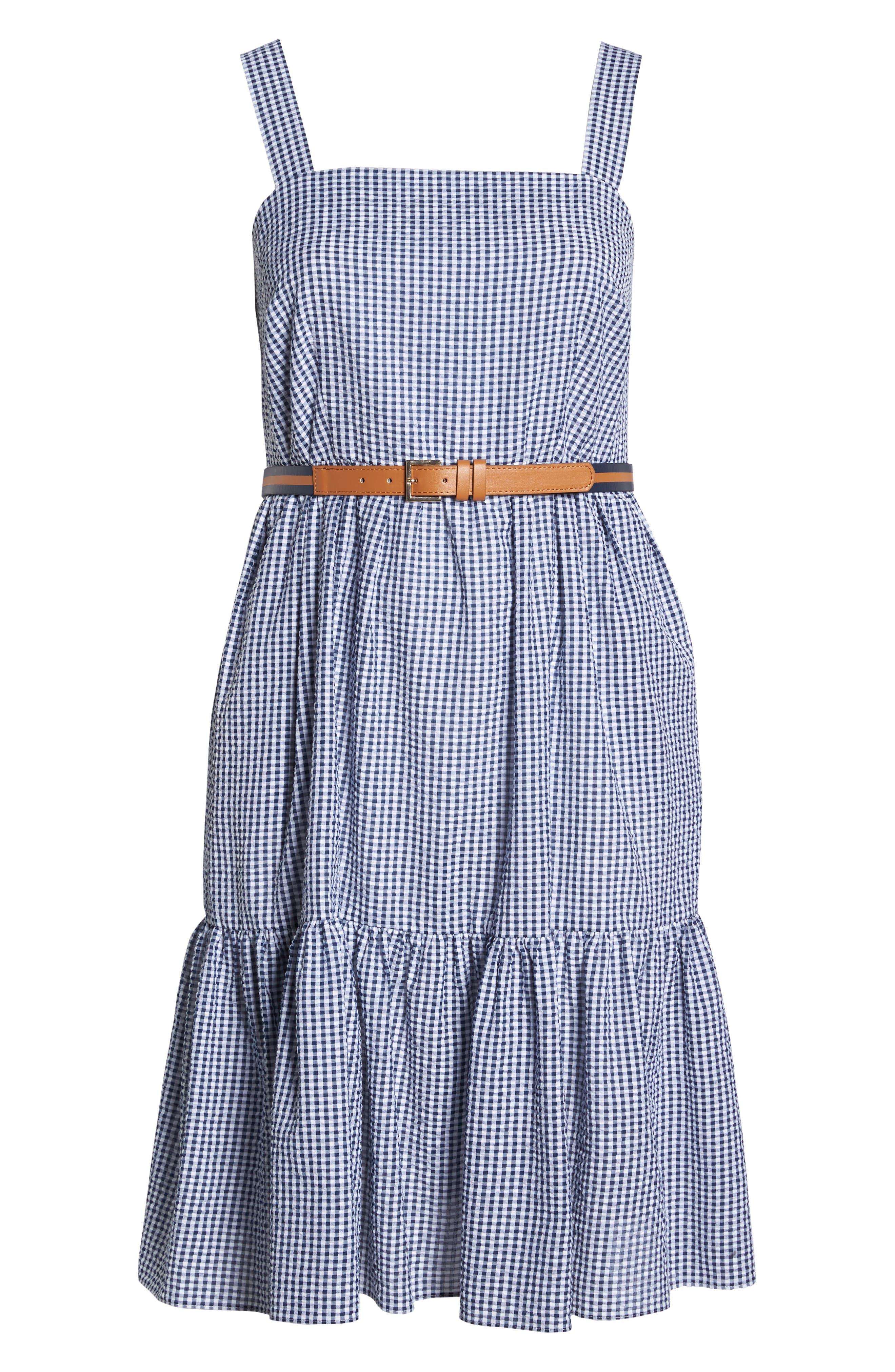Belted Gingham Seersucker Fit & Flare Dress,                             Alternate thumbnail 7, color,                             410
