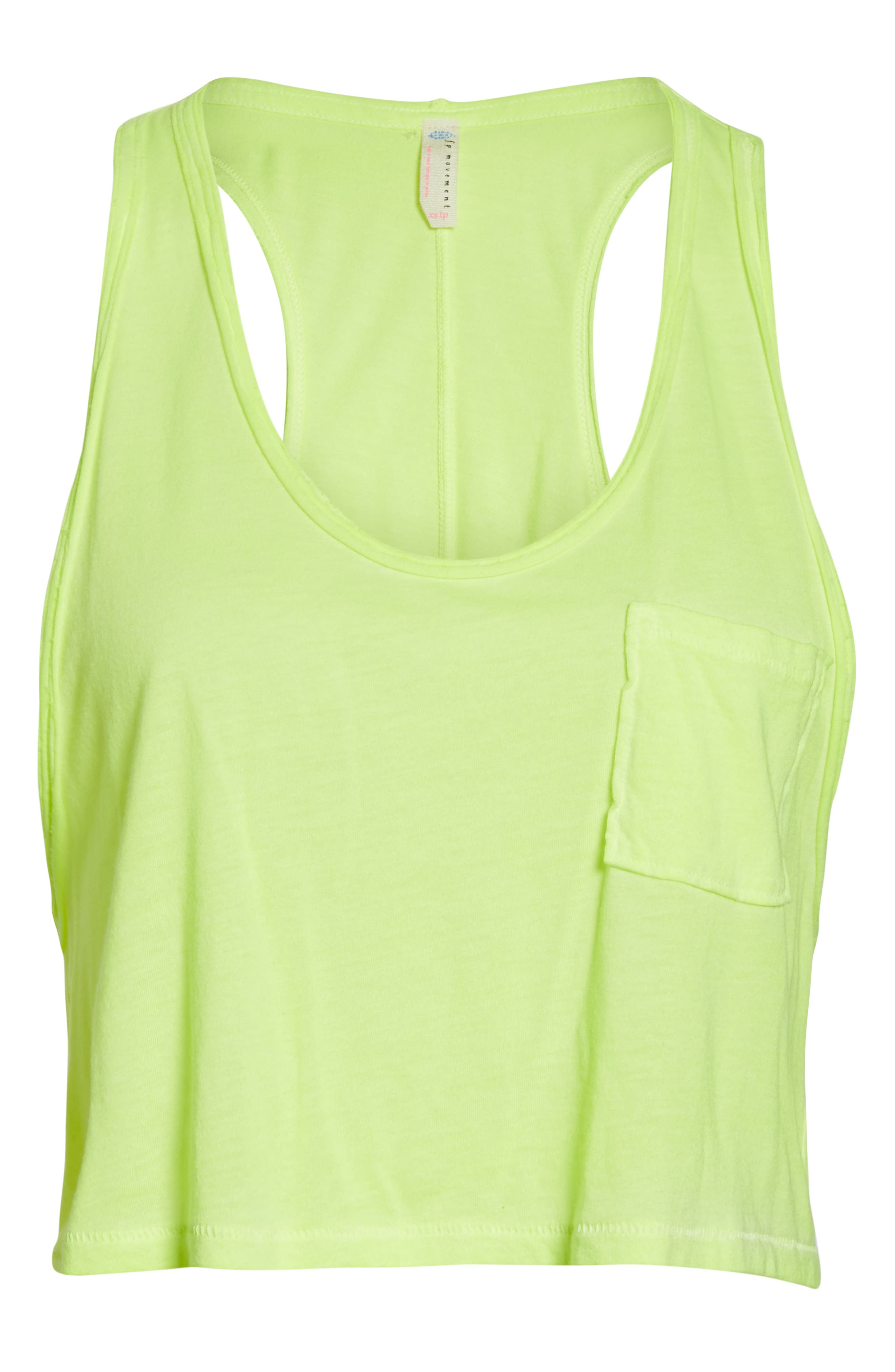 FREE PEOPLE MOVEMENT,                             Sunny Days Cropped Tank Top,                             Alternate thumbnail 7, color,                             LIME