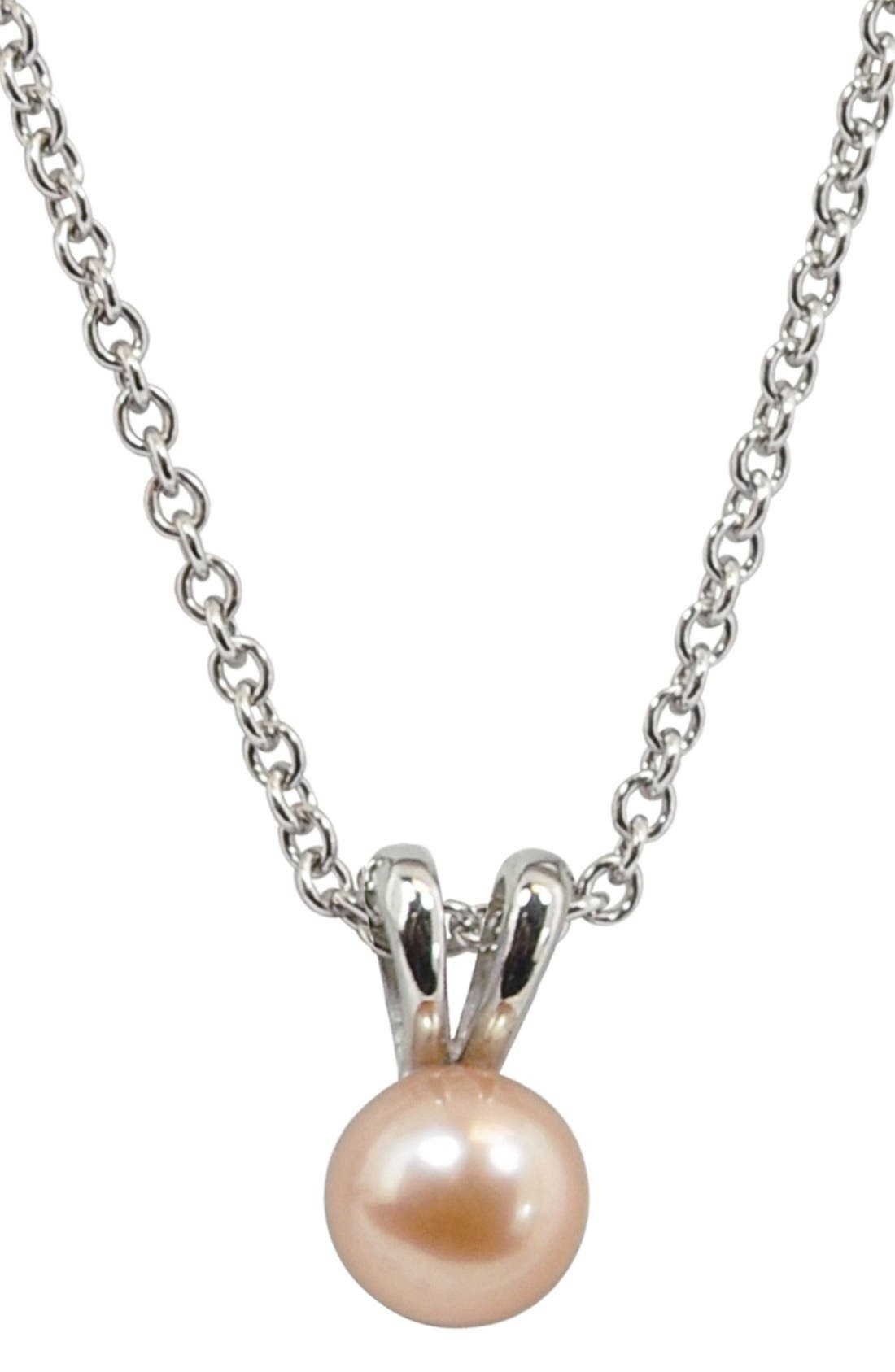 Peach Freshwater Pearl Necklace,                         Main,                         color, PEACH