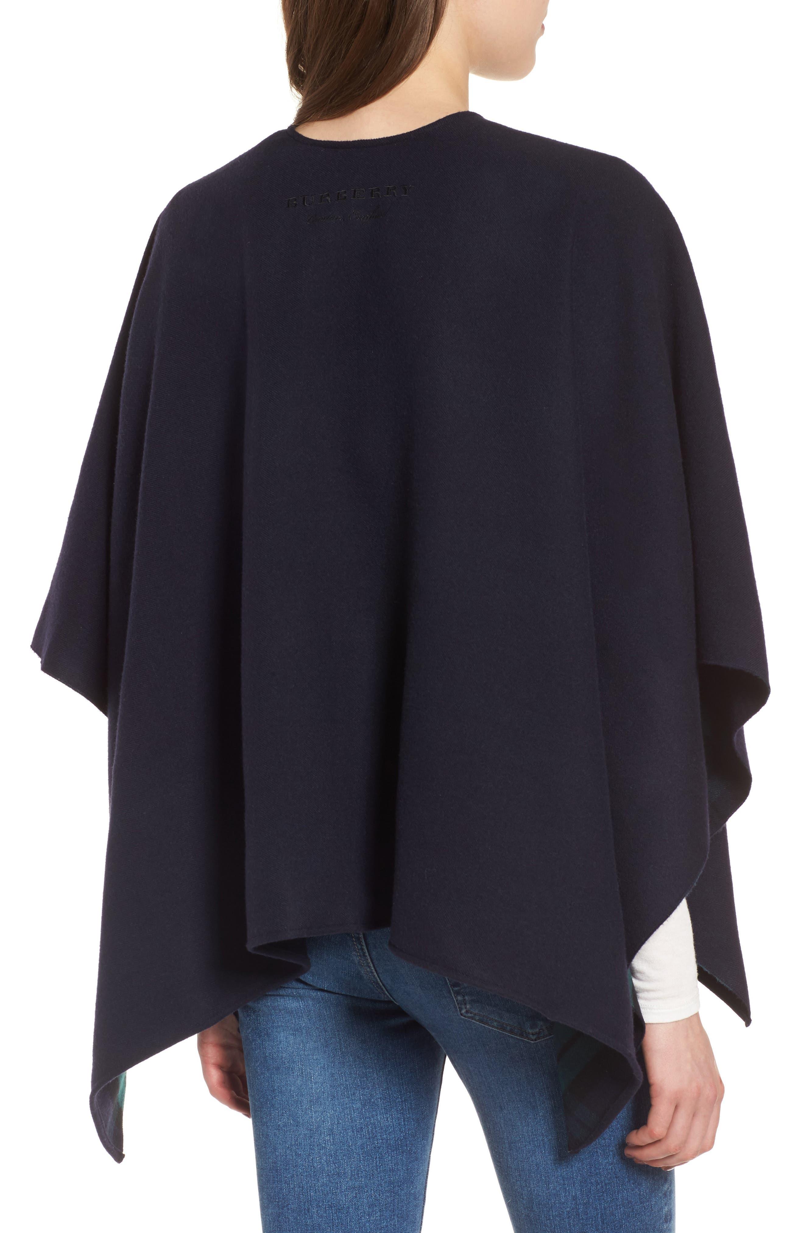 Crop Reversible Merino Wool Cape,                             Alternate thumbnail 4, color,