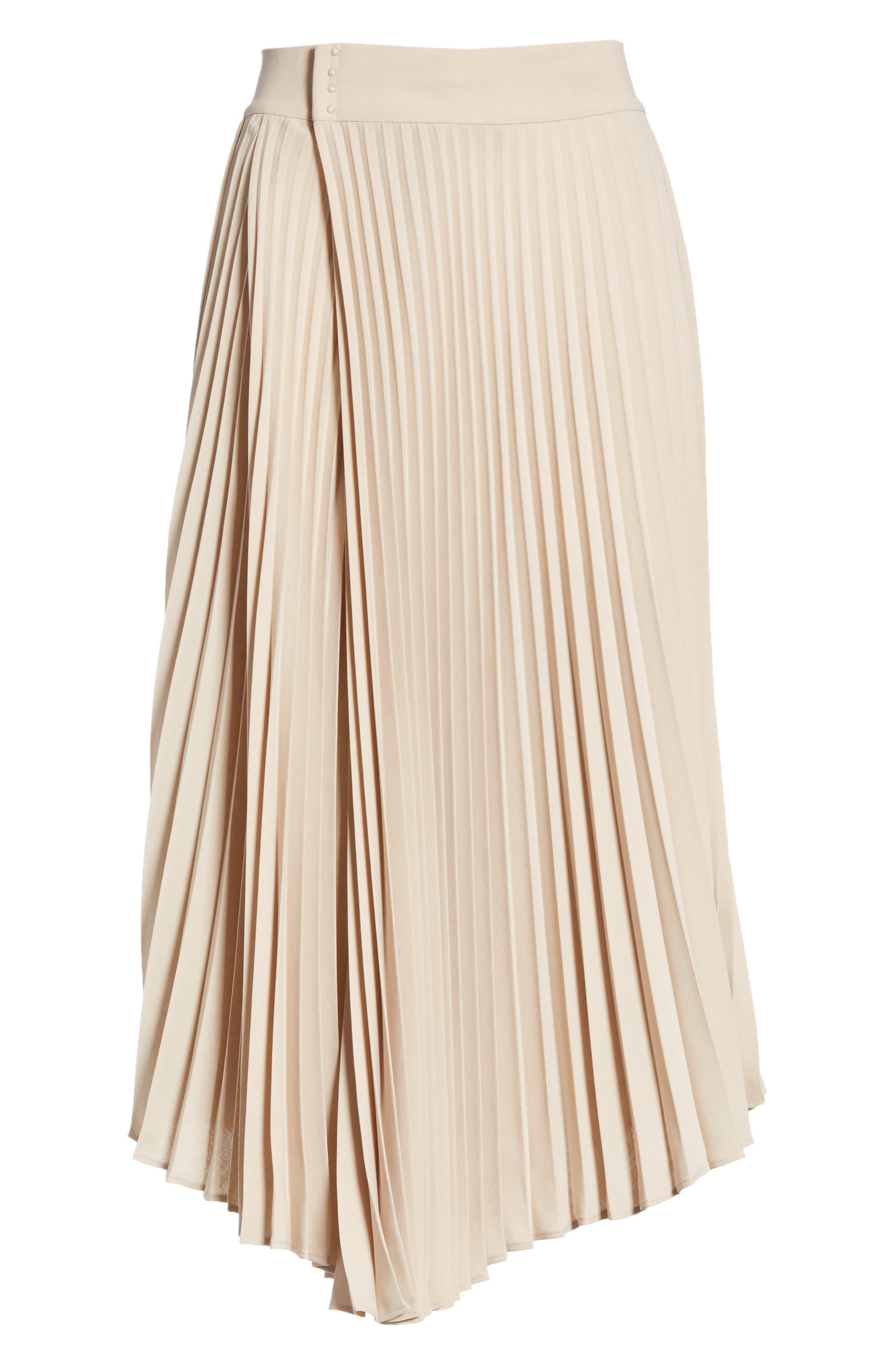 Asymmetric Hem Pleated Skirt,                             Alternate thumbnail 6, color,                             STONEWARE
