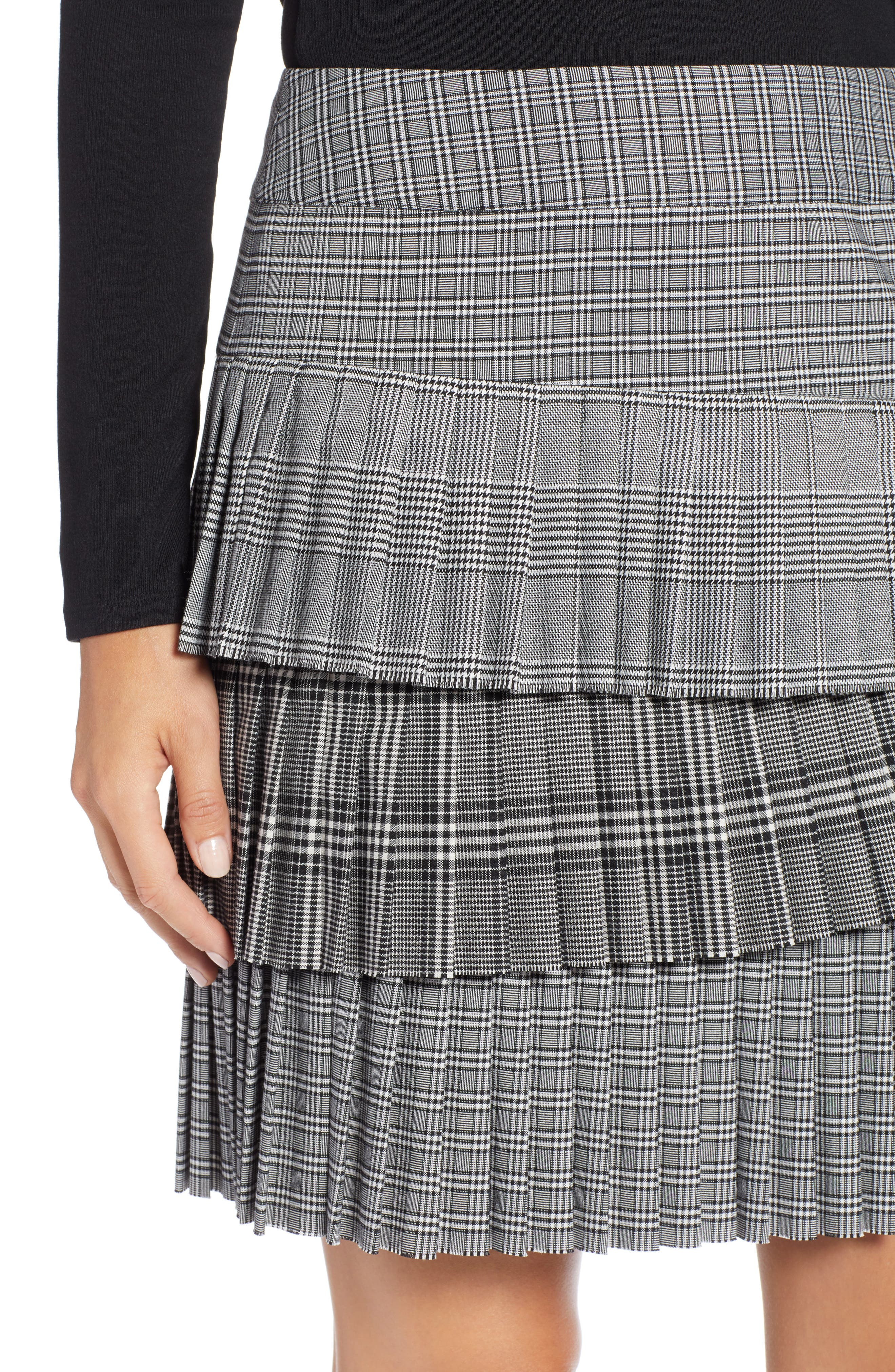 Layered Pleated Skirt,                             Alternate thumbnail 4, color,                             BLACK MIXED PLAID