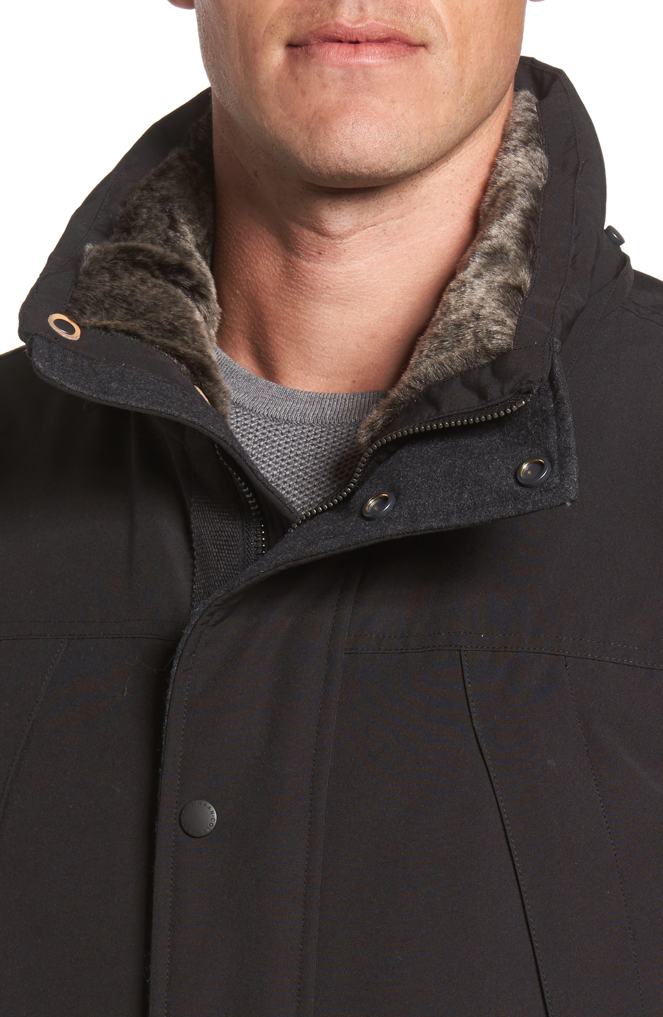 Faux Fur Trim Down Utility Parka,                             Alternate thumbnail 4, color,                             001