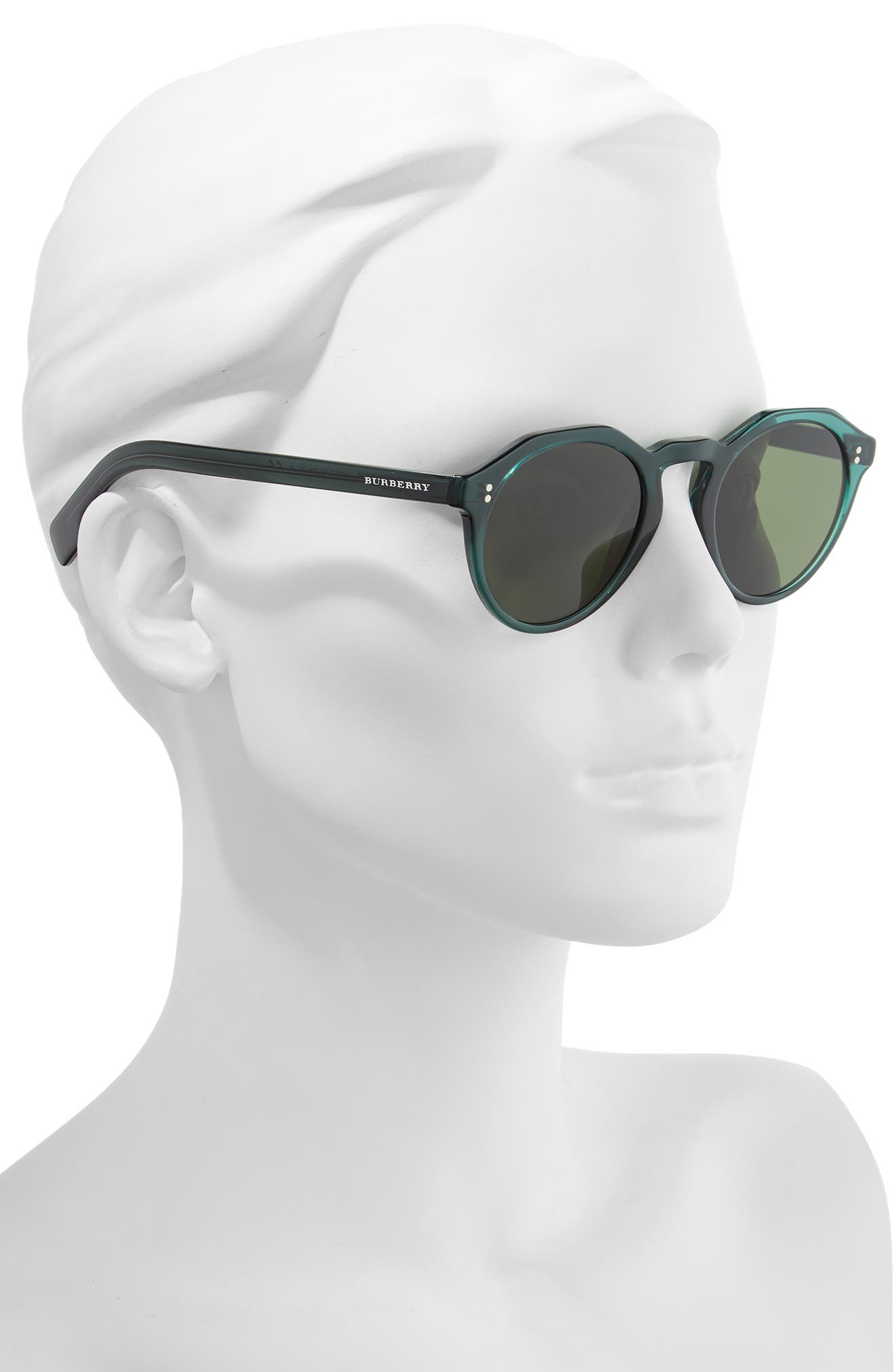 48mm Round Sunglasses,                             Alternate thumbnail 2, color,                             GREEN/ GREEN SOLID