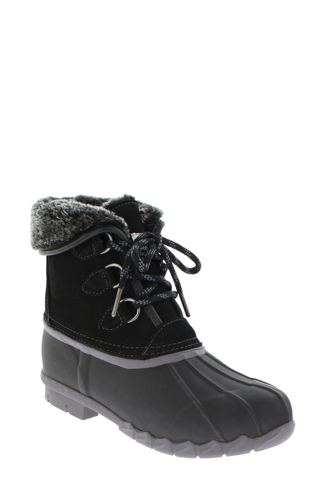Defrost Faux Fur Lined Duck Boot,                         Main,                         color, 001