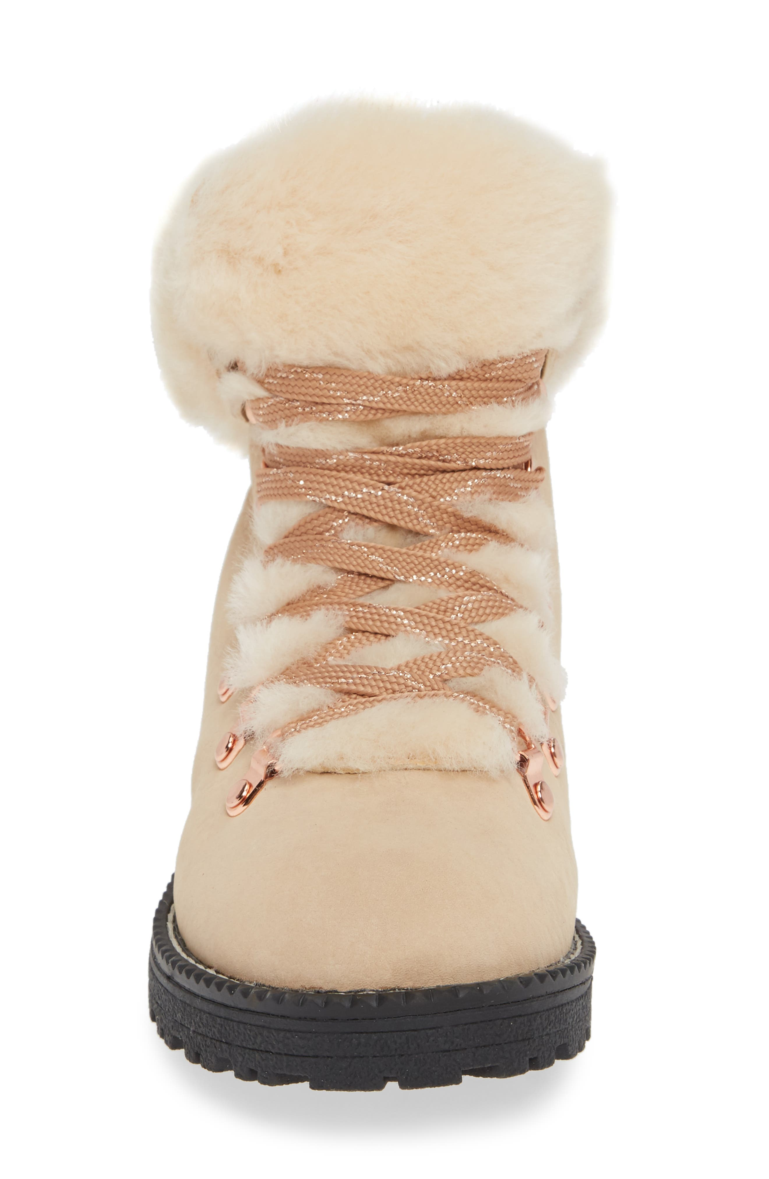Nordic Genuine Shearling Cuff Winter Boot,                             Alternate thumbnail 4, color,                             DUNE LEATHER