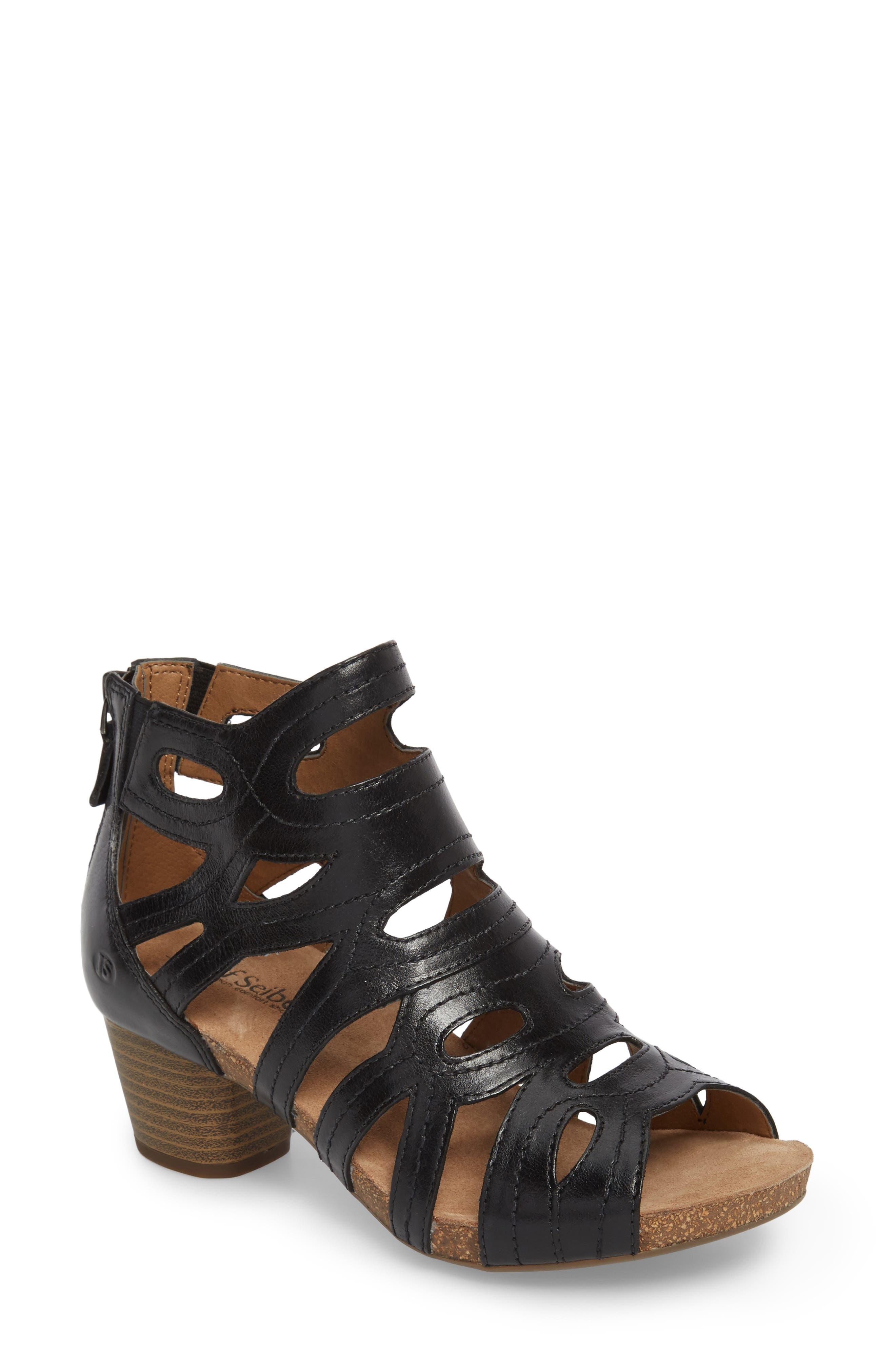 Rose 21 Gladiator Sandal,                             Main thumbnail 1, color,                             BLACK LEATHER