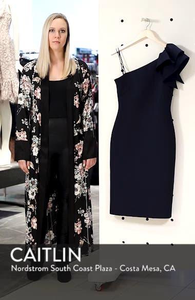 One-Shoulder Ruffle Sheath Dress, sales video thumbnail