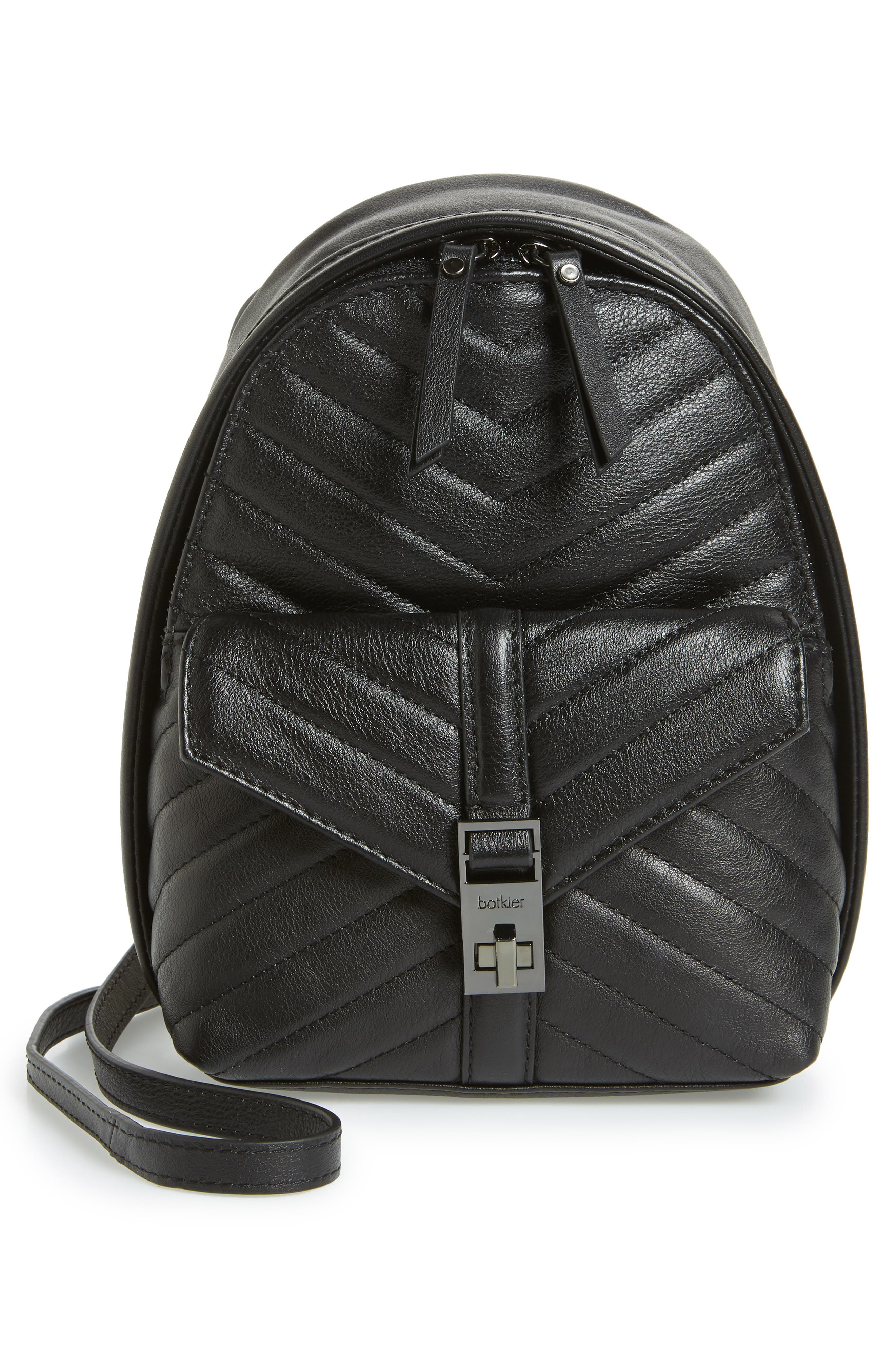Dakota Quilted Leather Backpack,                             Alternate thumbnail 3, color,                             001
