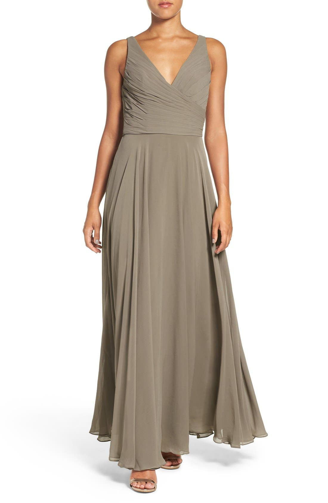 Karen V-Neck A-Line Chiffon Gown,                             Main thumbnail 1, color,                             020