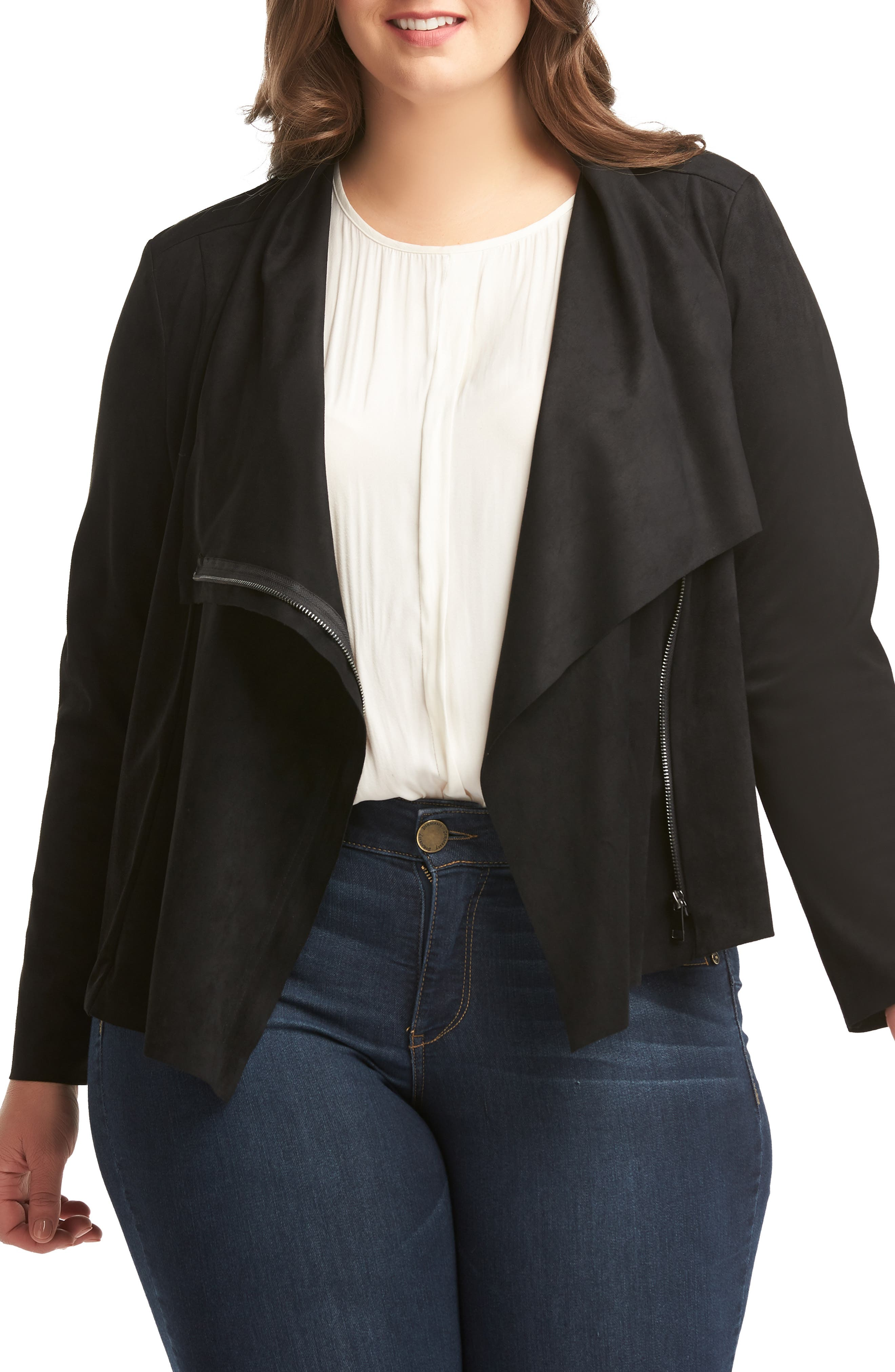 LEMON TART Sayna Moto Jacket, Main, color, BLACK