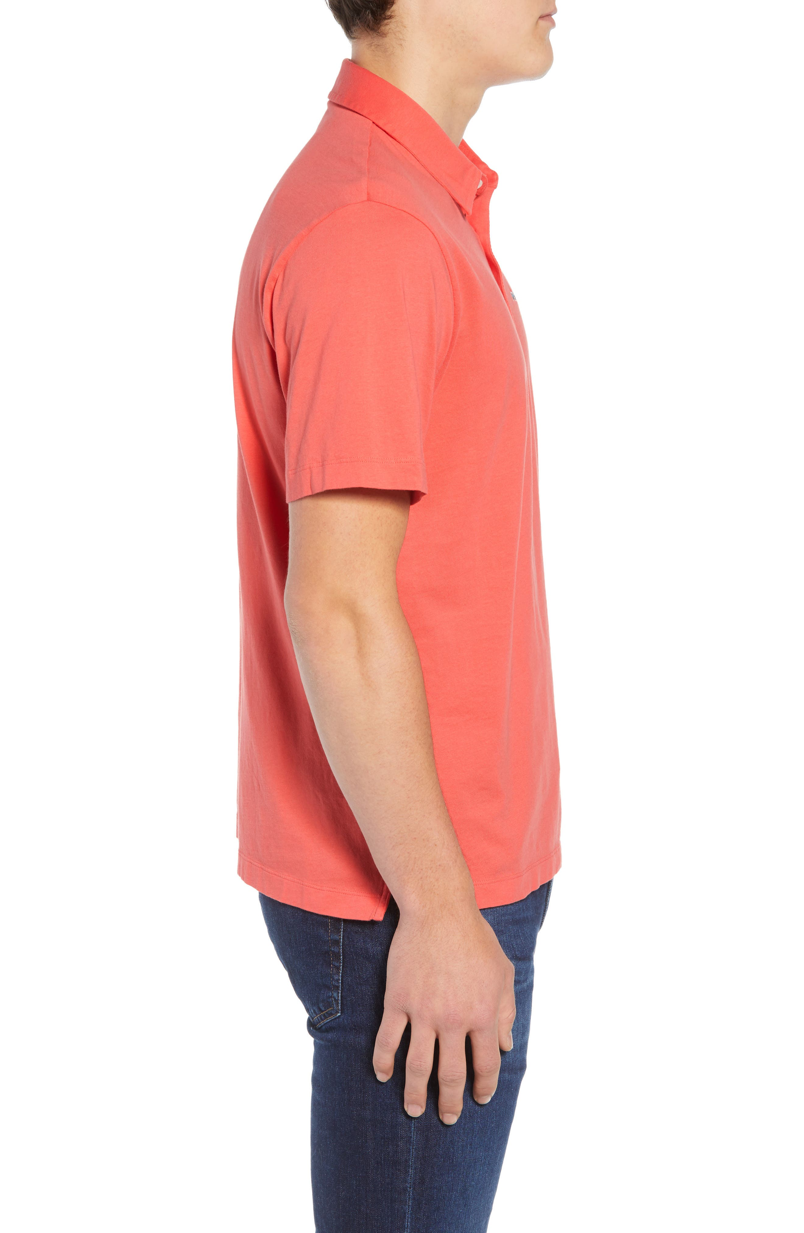 'Trout Fitz Roy' Organic Cotton Polo,                             Alternate thumbnail 3, color,                             SPICED CORAL