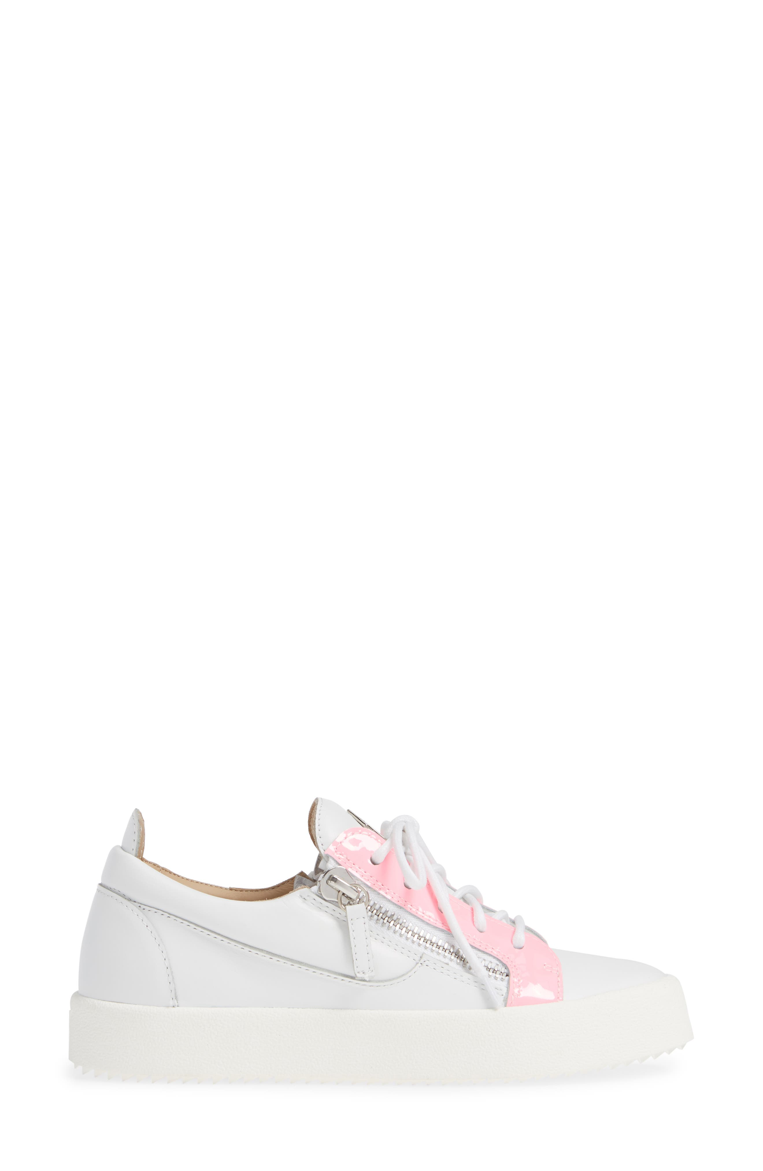 Low Top Sneaker,                             Alternate thumbnail 3, color,                             WHITE/ FUCHSIA