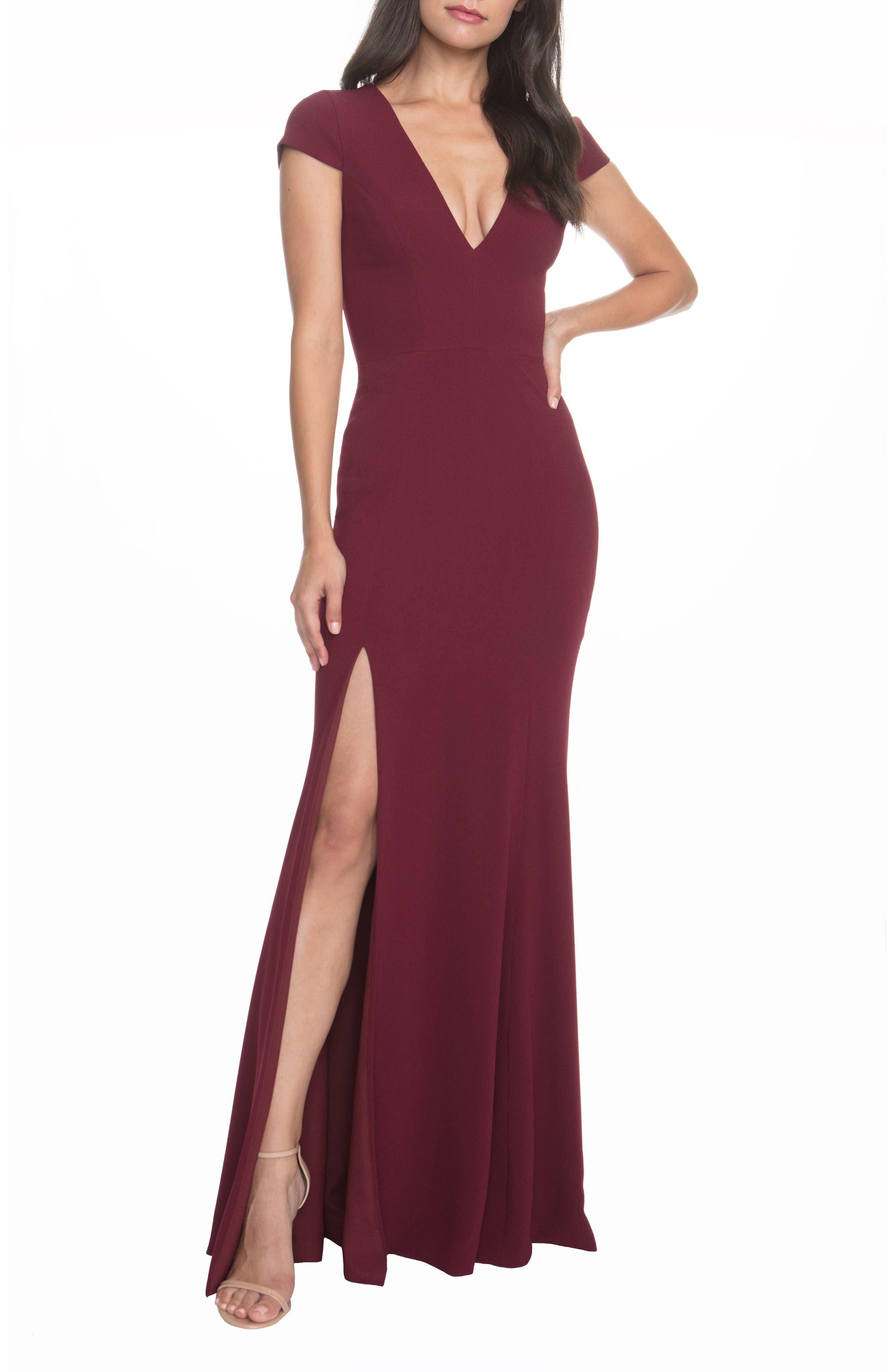 Dress The Population Karla V-Neck Trumpet Gown, Burgundy