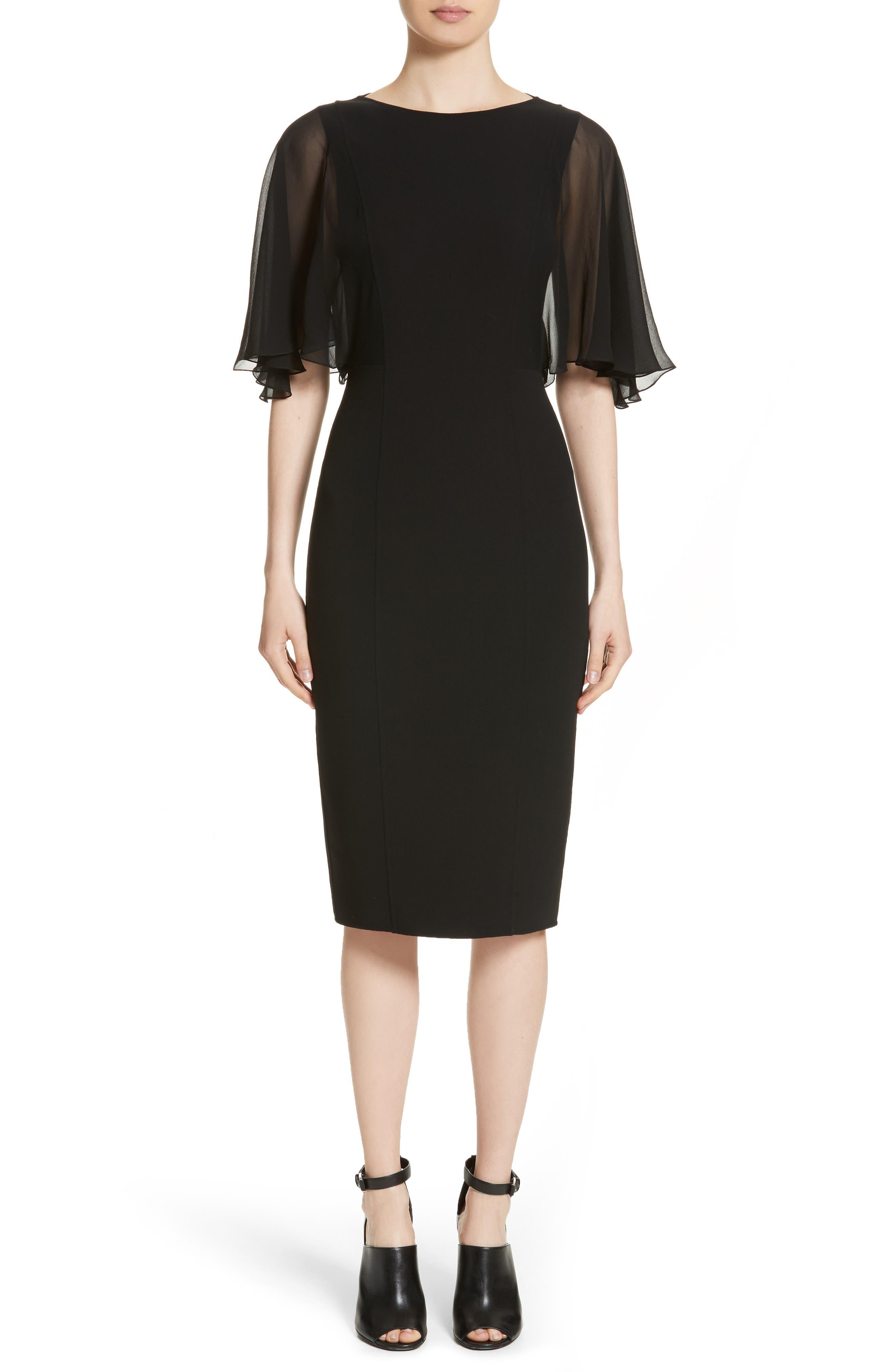 Draped Chiffon Sleeve Dress,                             Main thumbnail 1, color,                             001