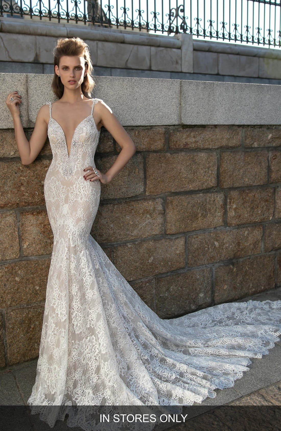 Plunging V-Neck Beaded Lace Dress,                         Main,                         color, IVORY