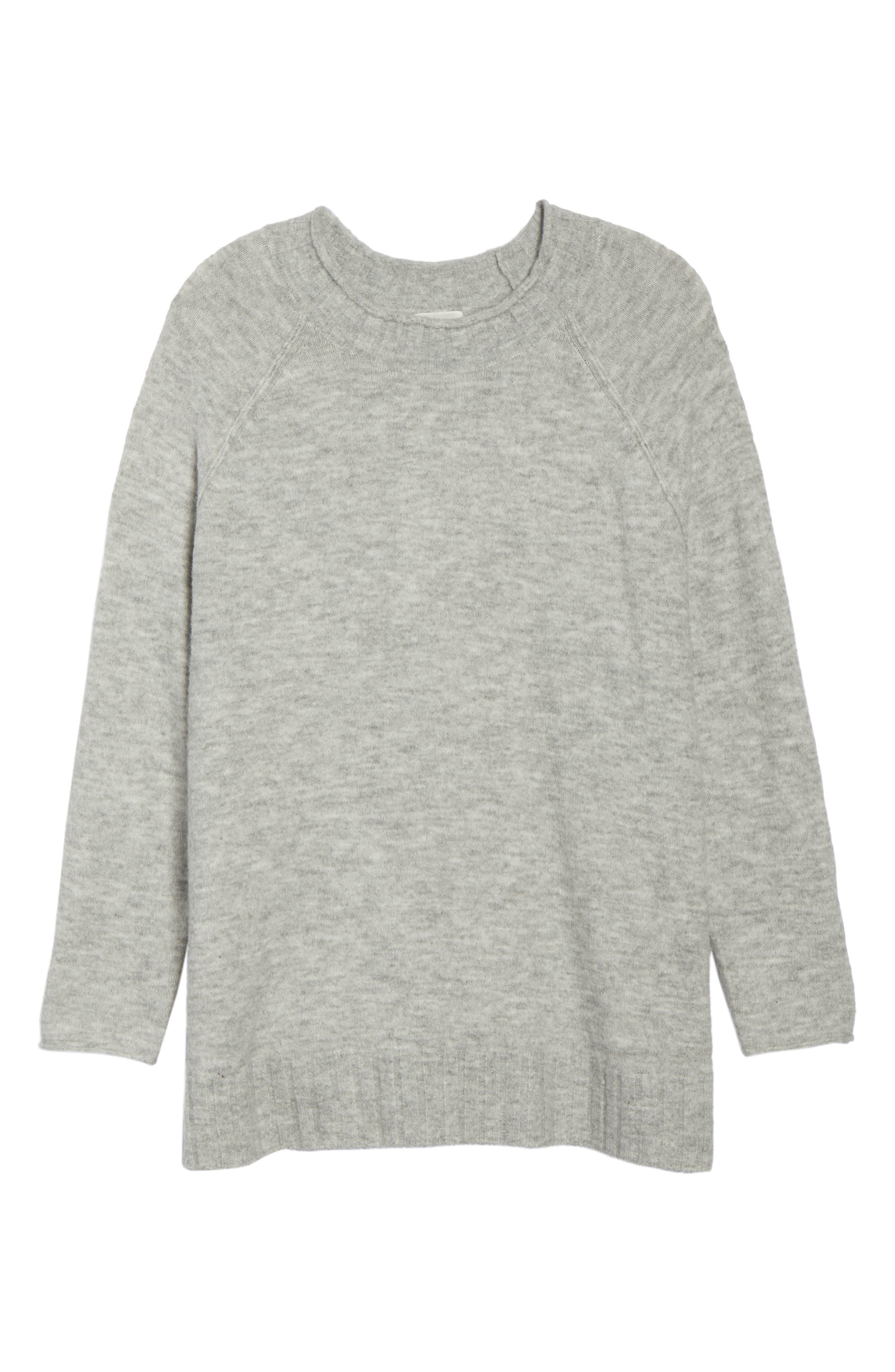 Cozy Crewneck Sweater,                             Alternate thumbnail 6, color,                             GREY HEATHER