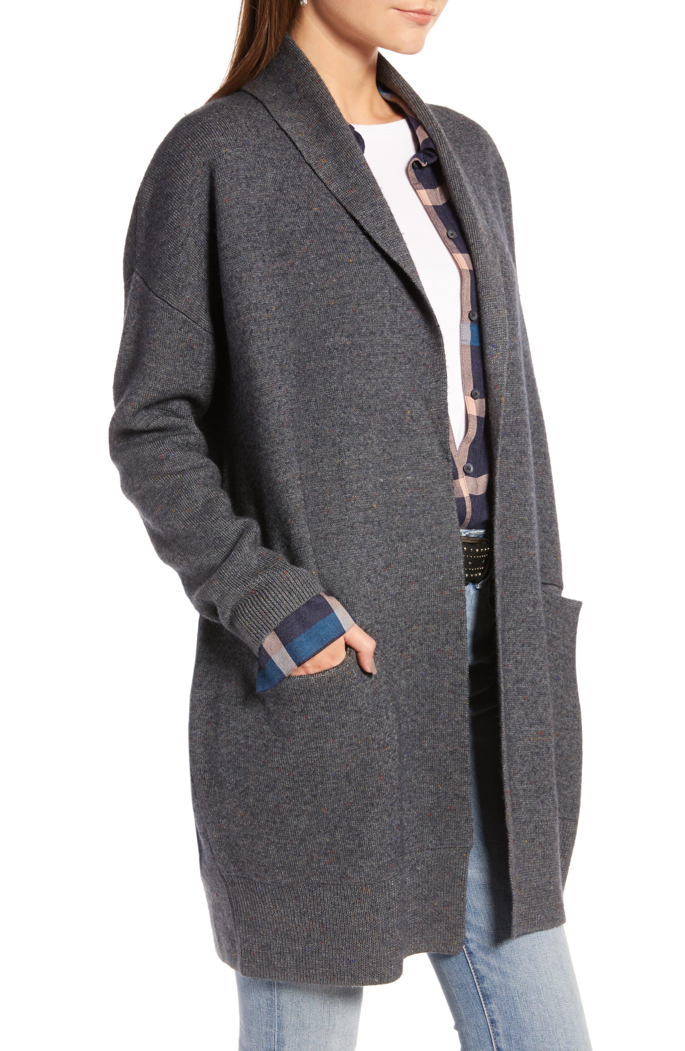TREASURE & BOND,                             Boiled Wool Blend Long Cardigan,                             Alternate thumbnail 3, color,                             030