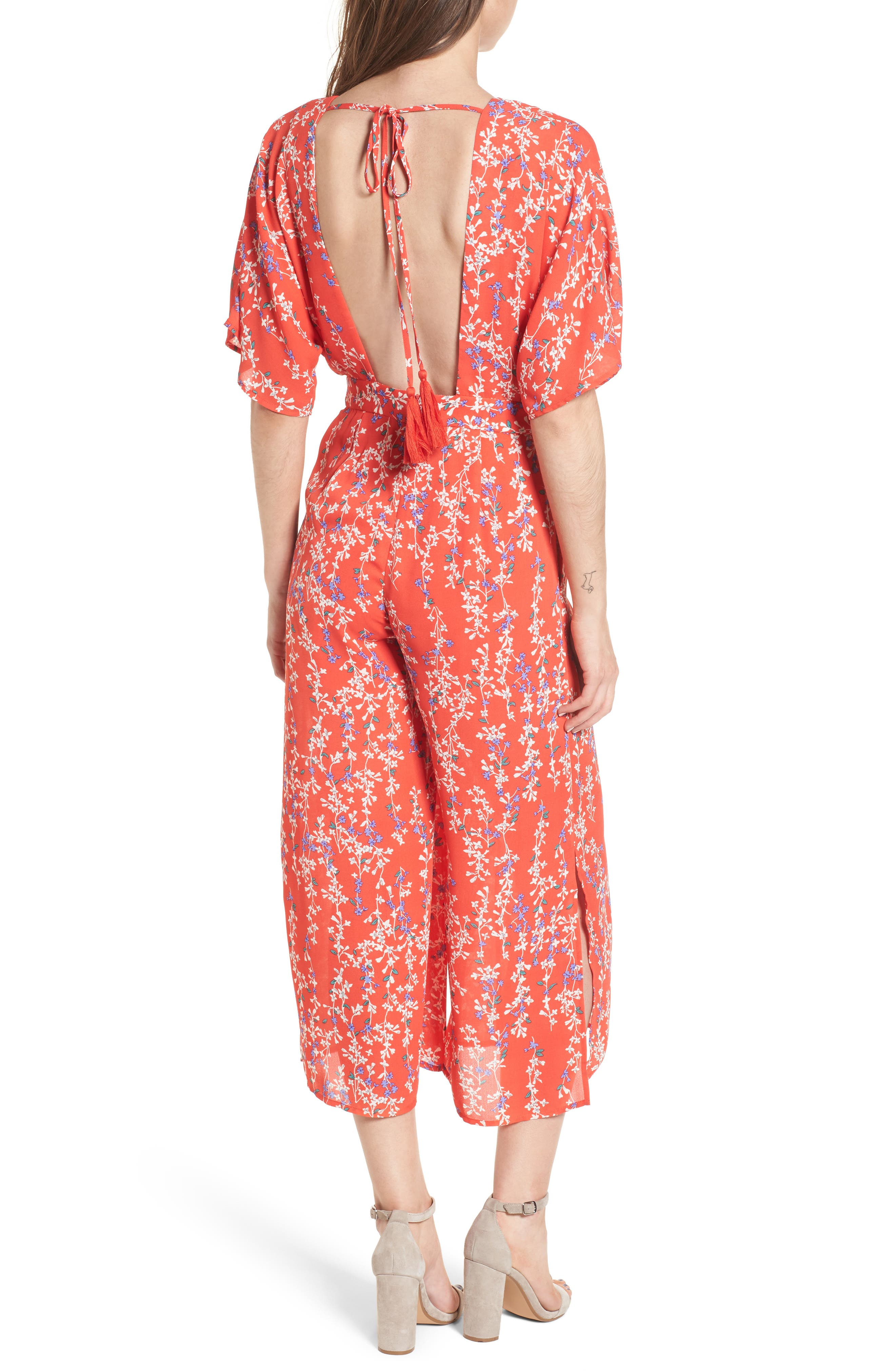 Floral Open Back Jumpsuit,                             Alternate thumbnail 2, color,                             RED MULTI