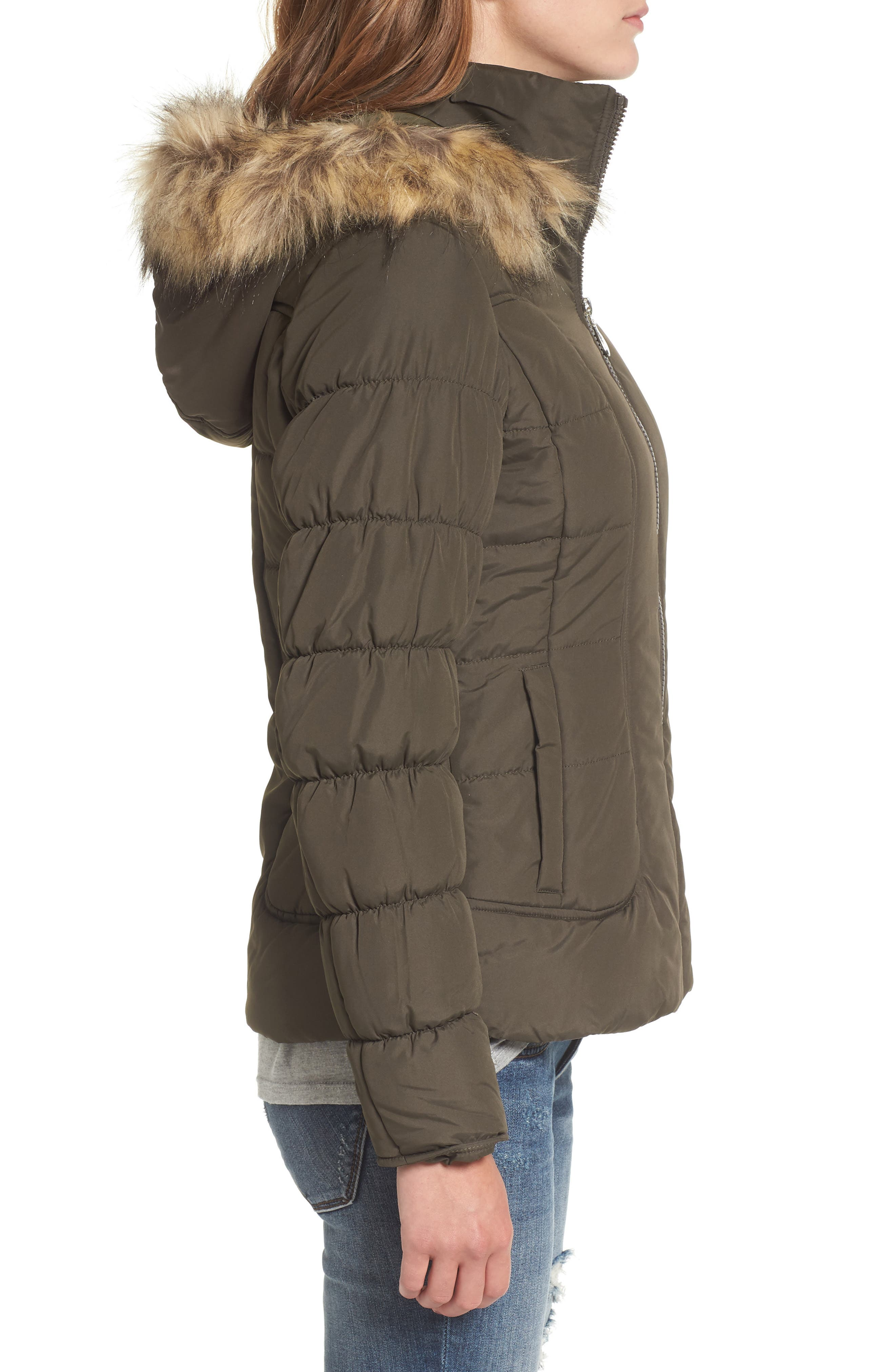Quilted Jacket with Faux Fur Collar,                             Alternate thumbnail 6, color,