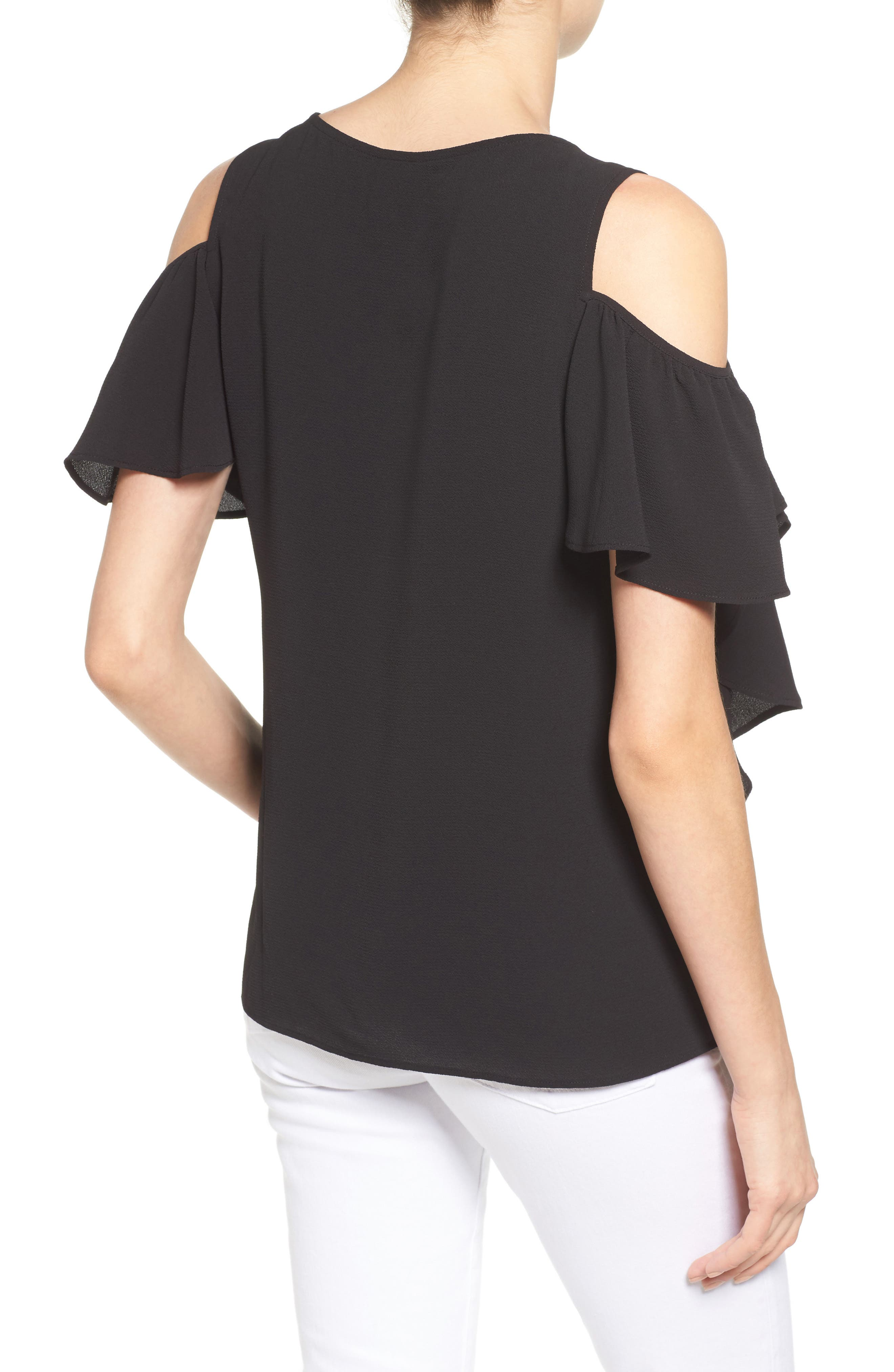 Cold Shoulder Ruffle Sleeve Top,                             Alternate thumbnail 2, color,                             015